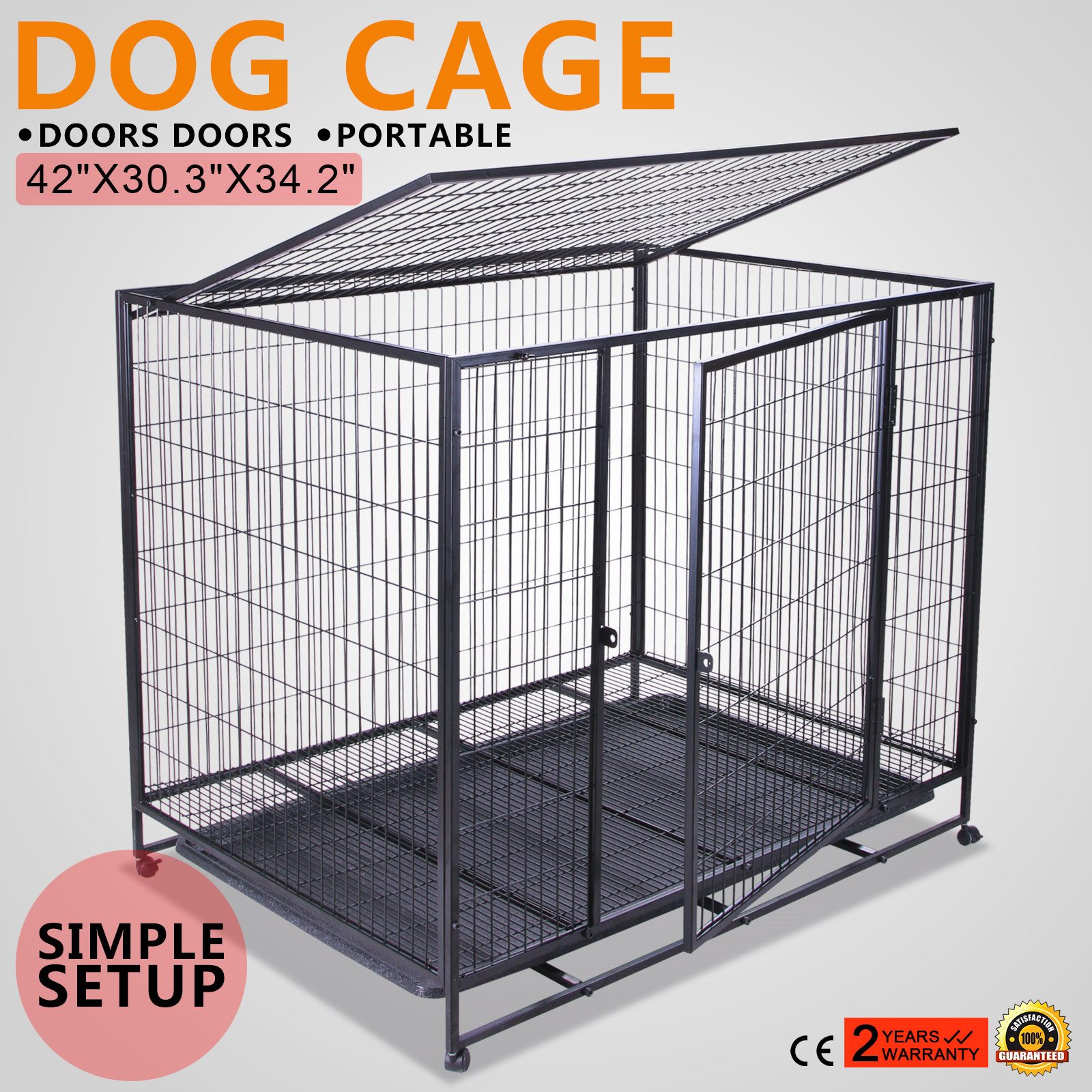 42 Quot Dog Crate Kennel Pet Cage Carrier Box 2 Door Car