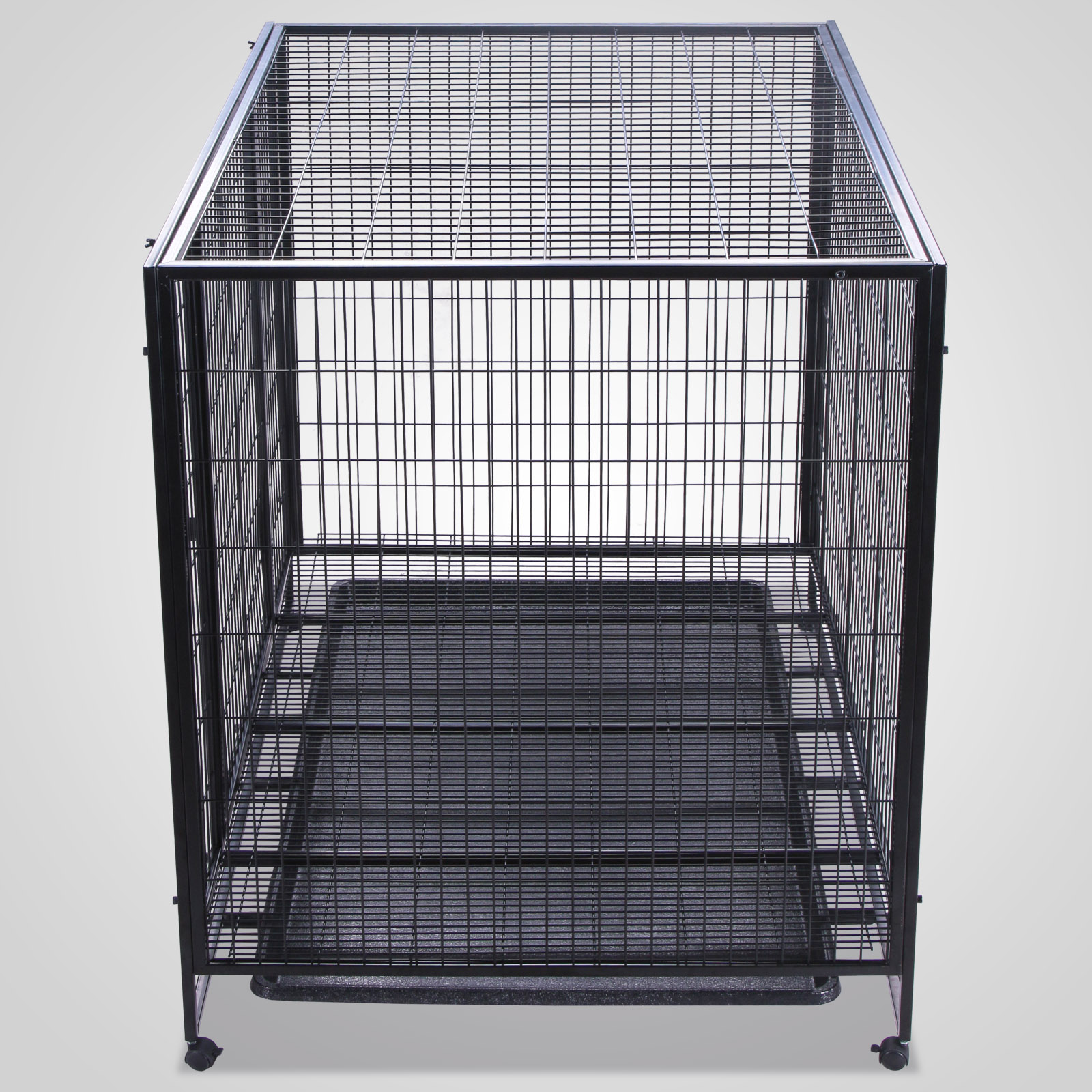 dog crate cage wtray crate metal newest design modern  -  dog crate kennel black heavy duty pet cage playpen tray pan and wheels
