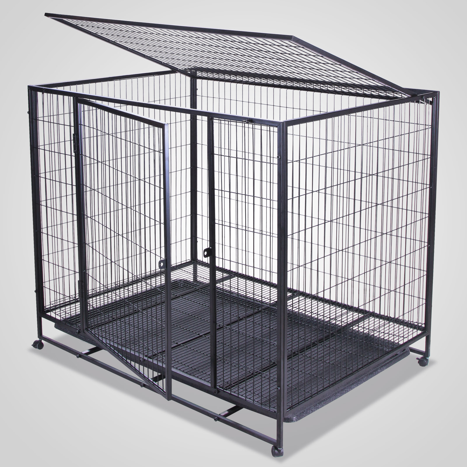 Black 37 42 48 2 Doors Pet Suitcase Dog Cat Crate Cage Kennel Pen