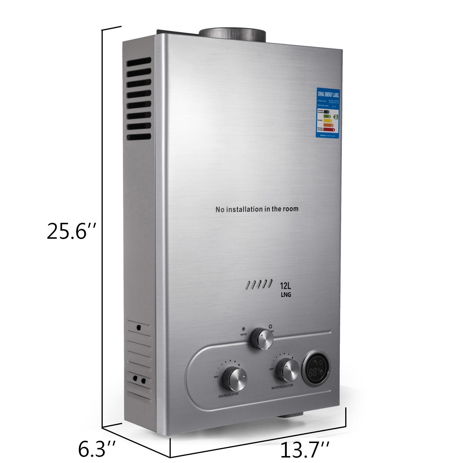 12L-Min-Chauffe-eau-Instantanee-a-Gaz-Naturel-Automatique-avec-Pommeau-de-Douche miniature 2