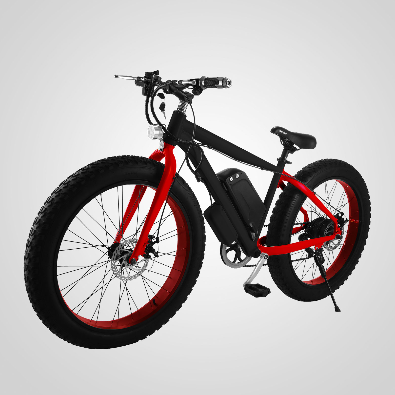 Electric Fat Tire Wheel Mountain Bike Red 500w Beach