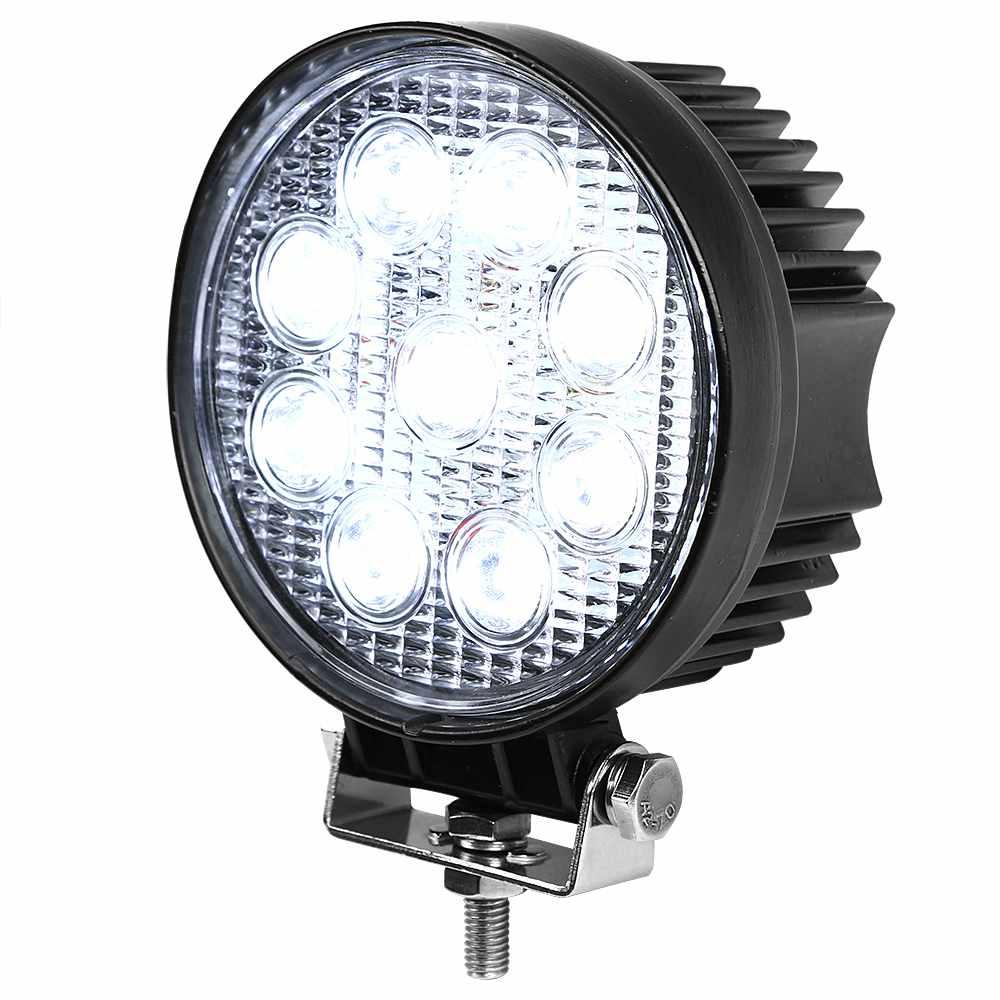 27w Led Work Light : Round led work light w aluminum flood offroad ute