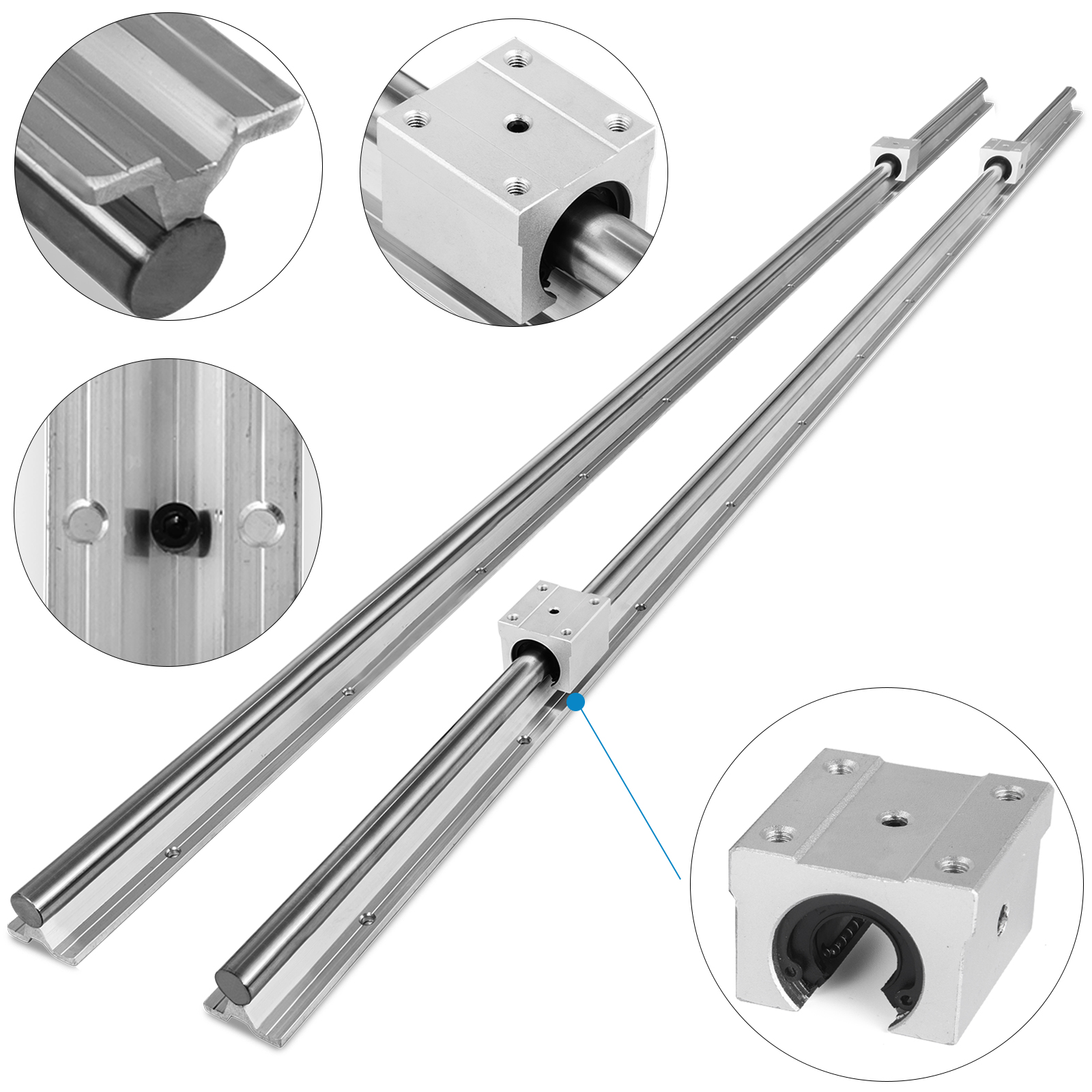 2X SBR20 Linear Rail Shaft Rod 650-2200mm with 4pcs SBR20UU Block Bearing