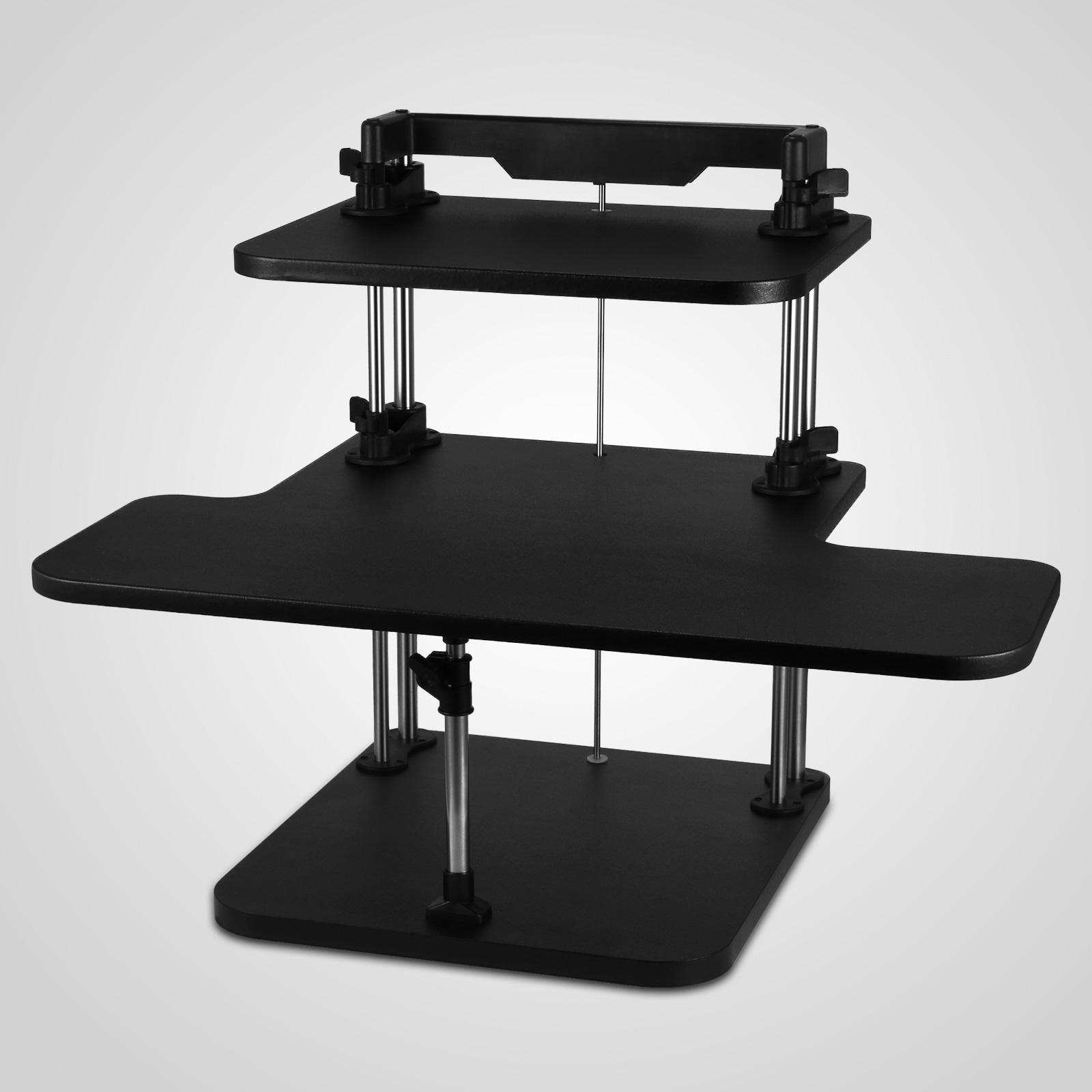 Lightweight Desk: 3 Tier Adjustable Computer Standing Desk Double Poles