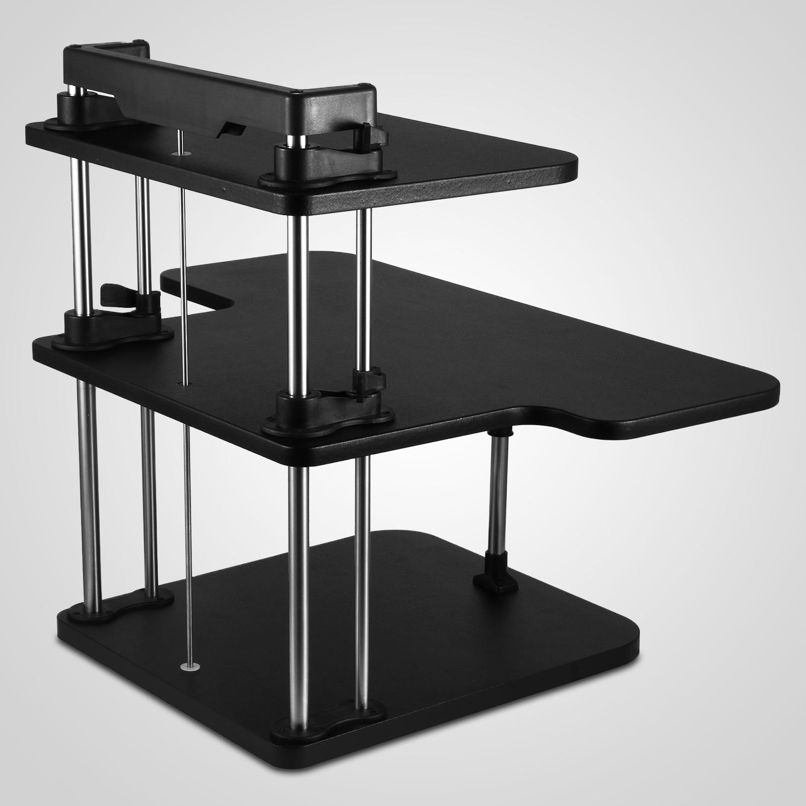 3 tier adjustable computer standing desk height adjustable stand up extra strong ebay. Black Bedroom Furniture Sets. Home Design Ideas