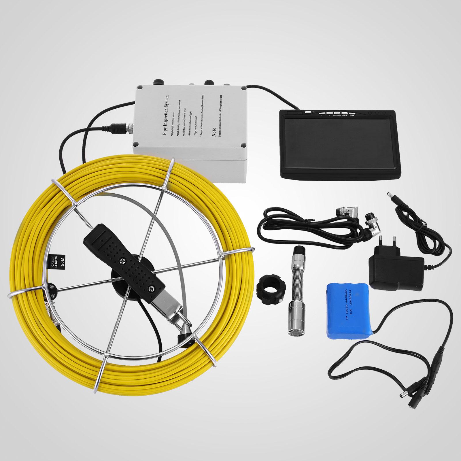kabel rohrkamera inspektionskamera 50m rekorder glasfaser 120 degree ebay. Black Bedroom Furniture Sets. Home Design Ideas