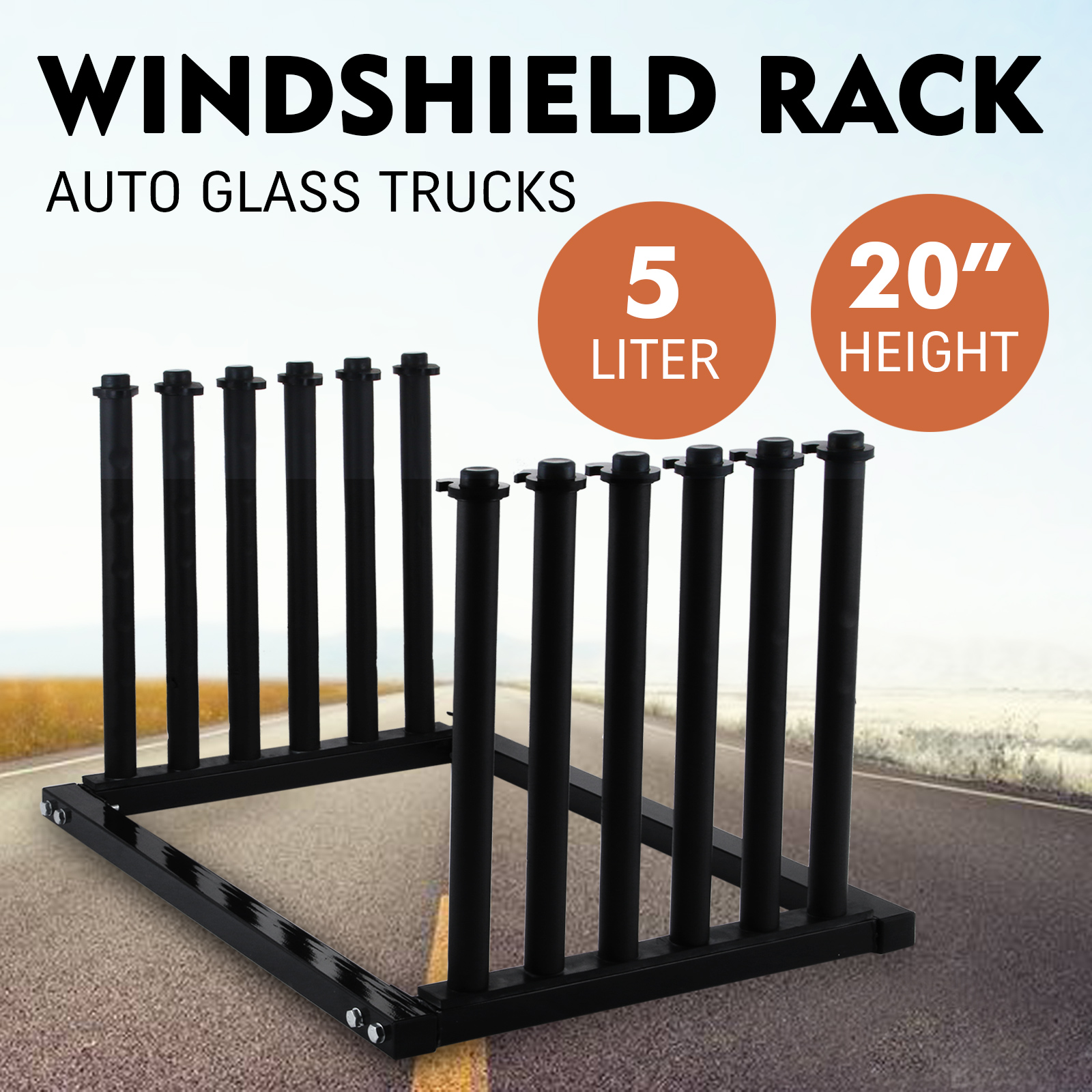 5-Lite-Windshield-Glass-Rack-Pickup-Transport-Black-New-In-Box