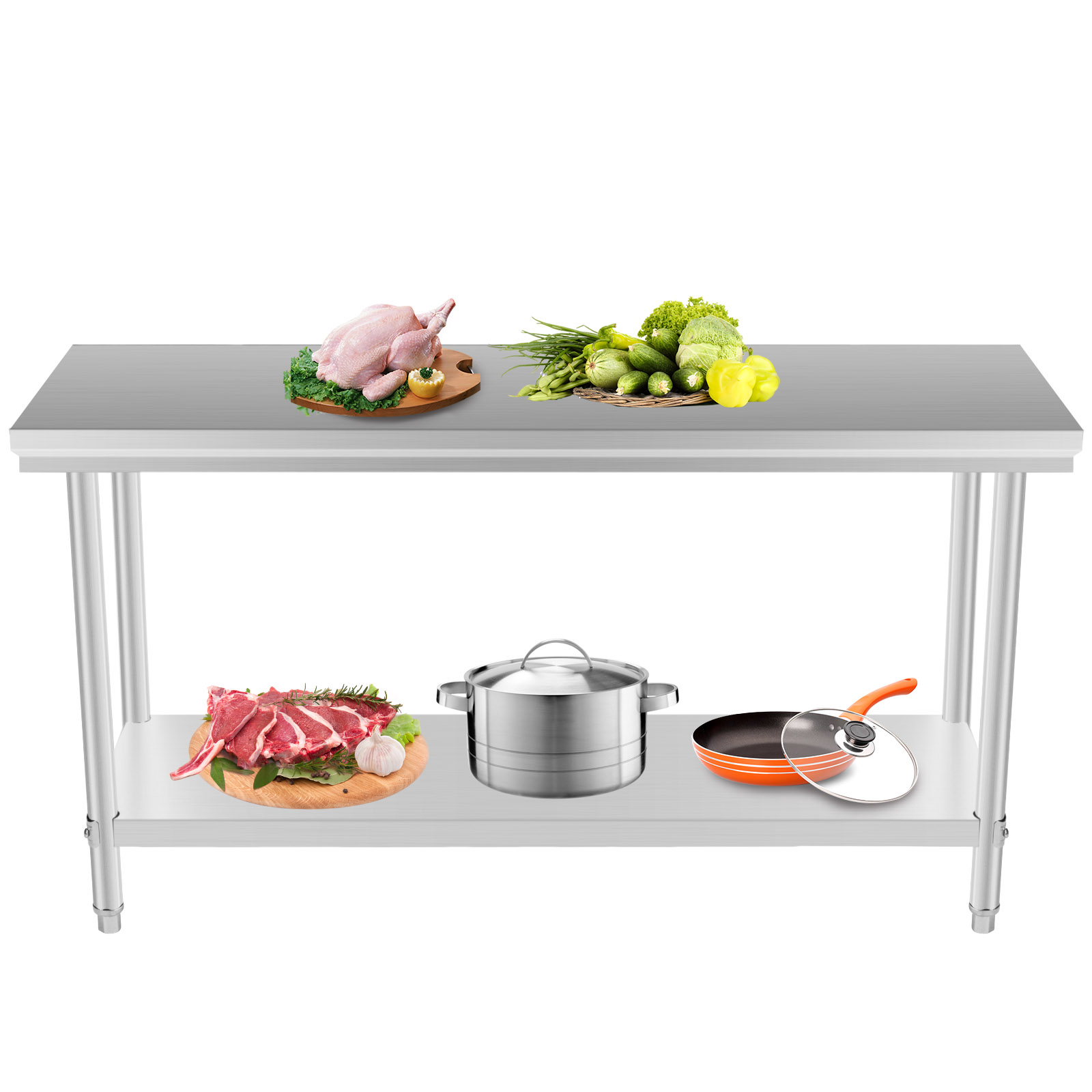 24 x 48 stainless steel kitchen work prep table storage space nsf shelves. Black Bedroom Furniture Sets. Home Design Ideas