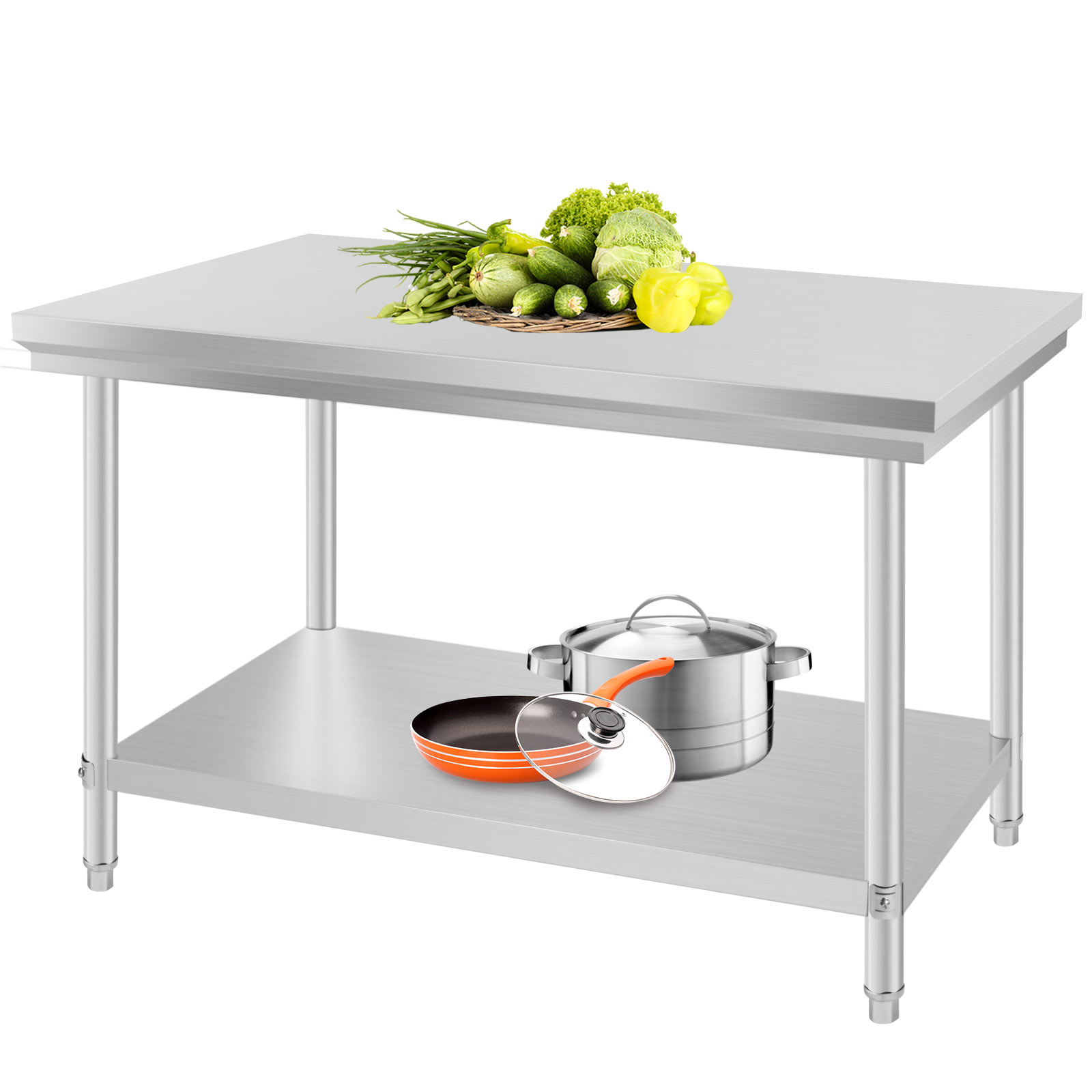 24 x 48 stainless steel kitchen work prep table storage for Kitchen table with storage