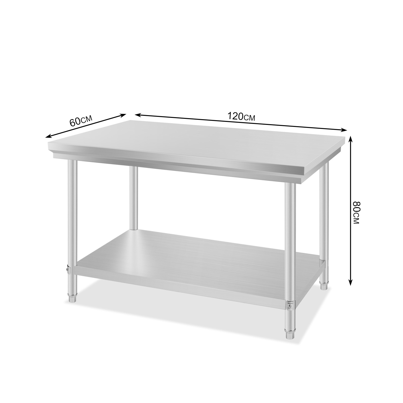 Vevor 201 commercial stainless steel kitchen work bench for Table cuisine 110 x 80