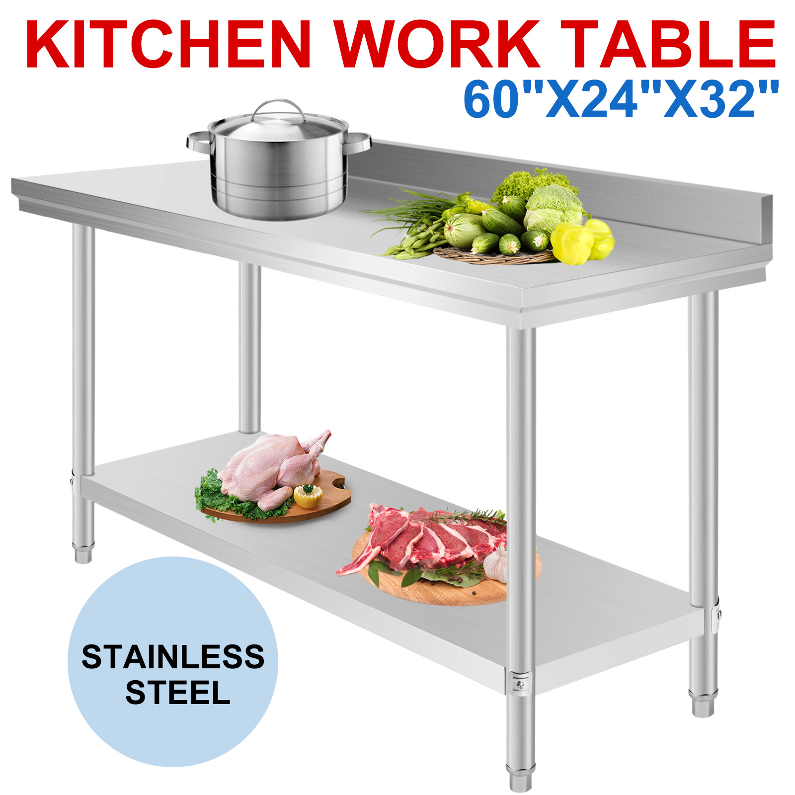 Commercial Stainless Steel Work Bench Food Kitchen
