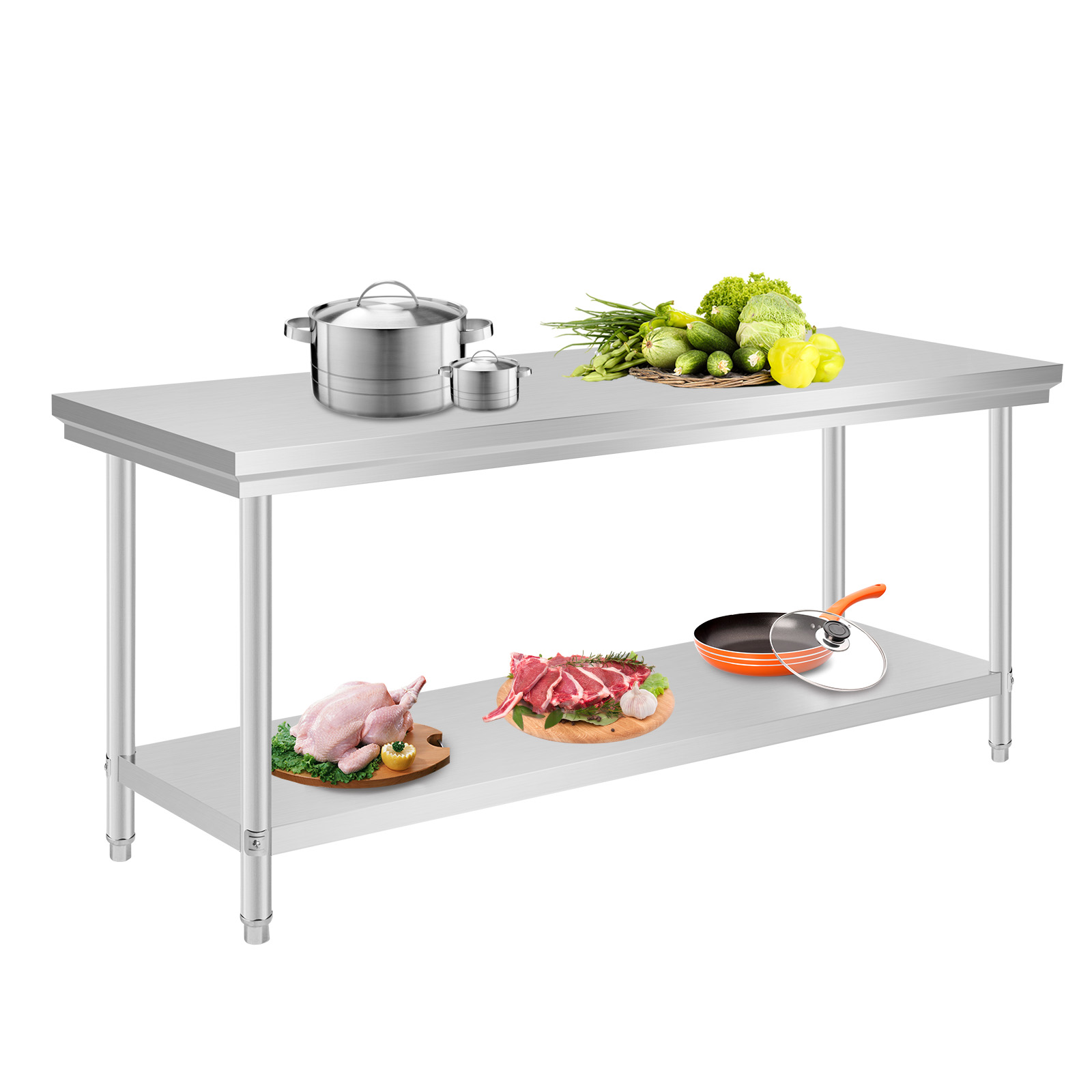 VEVOR Küchentisch Arbeitstisch Arbeitsplatte Edelstahl