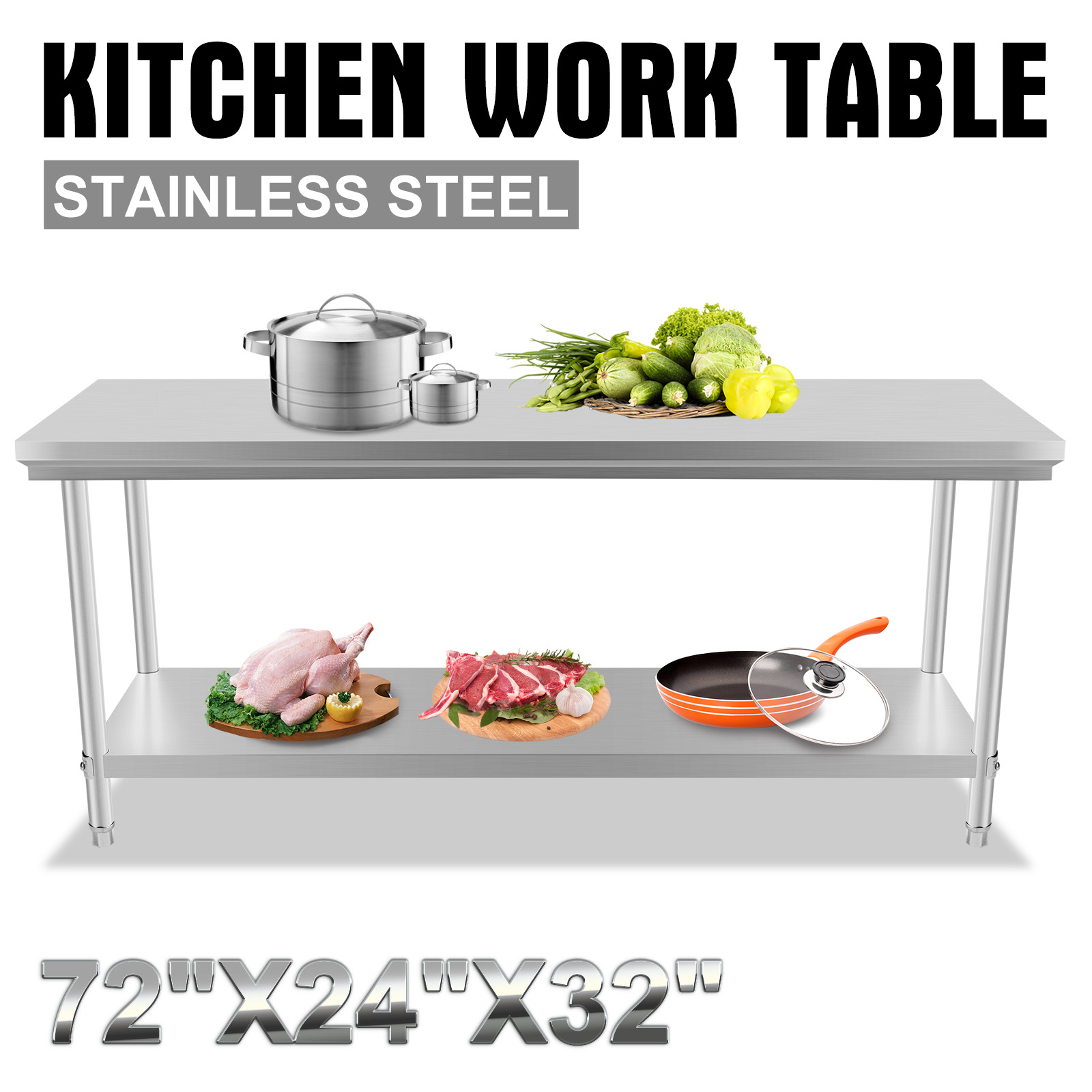 1829mm X 610mm Commercial Stainless Steel Kitchen Work Bench Food Prep Table Ebay