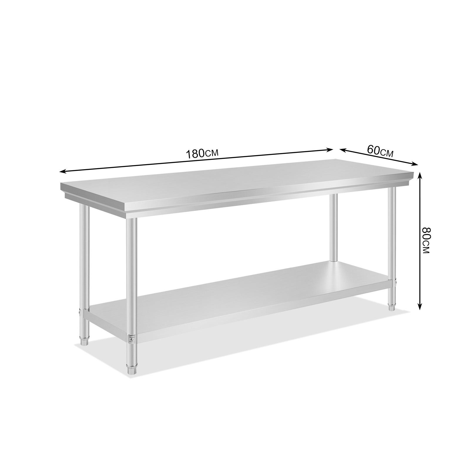 commercial stainless steel kitchen work bench top food grade prep  - commercialstainlesssteelkitchenworkbenchtopfood