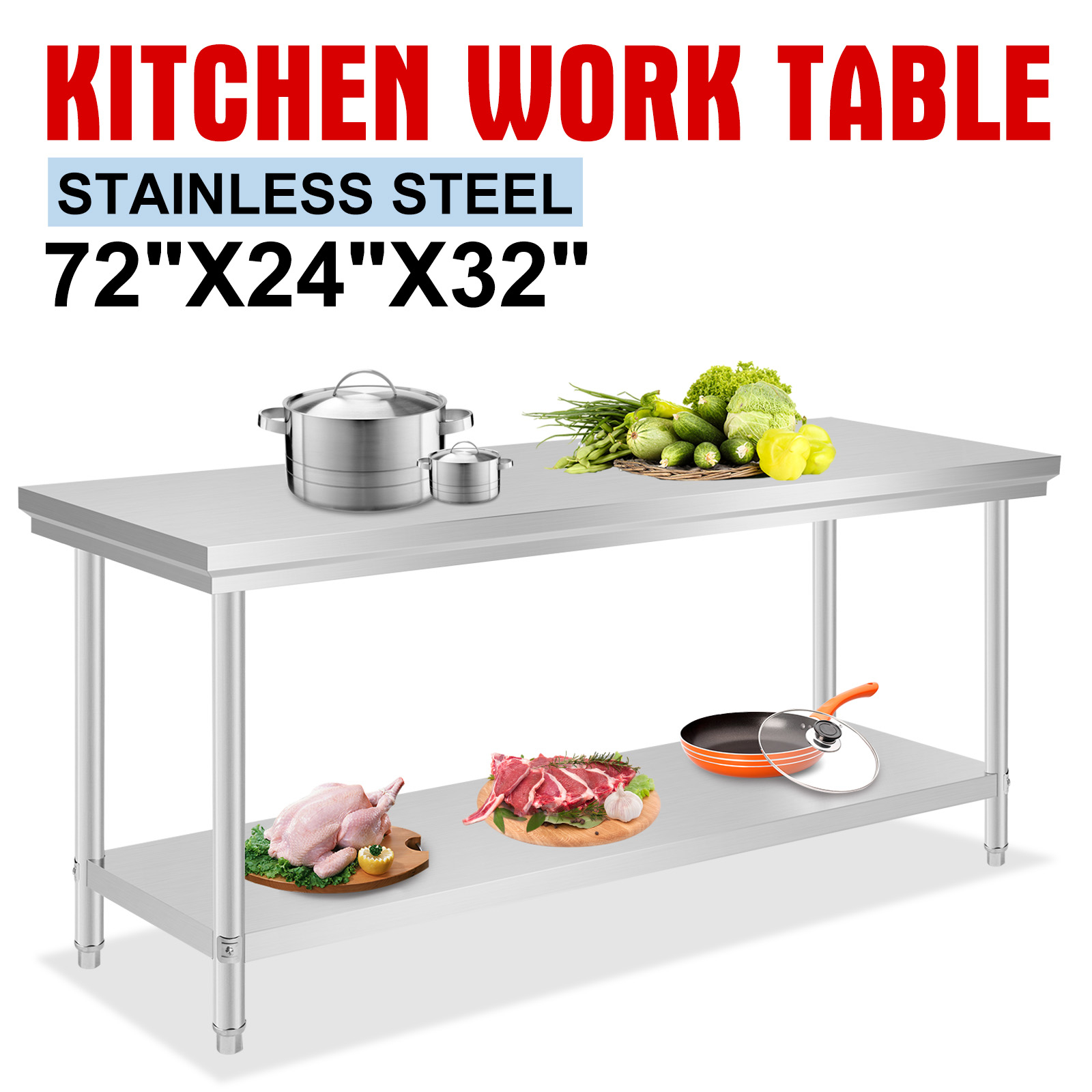 60x180cm kitchen work prep table nsf table food newest design superior quality ebay - Ebay kitchen table ...