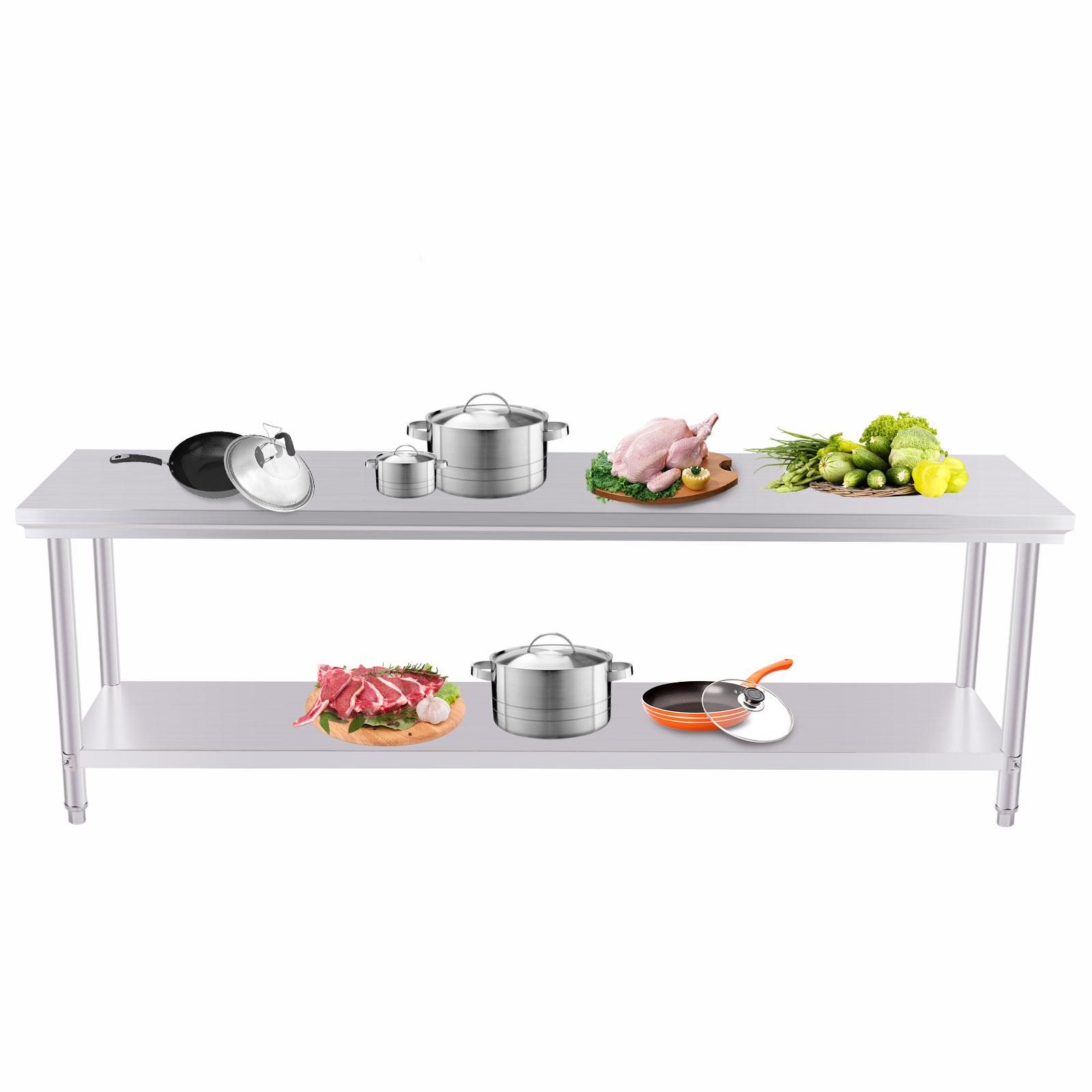 2x8ft Stainless Steel Work Bench Food Prep Kitchen Table Top 60x240cm Uk New Ebay