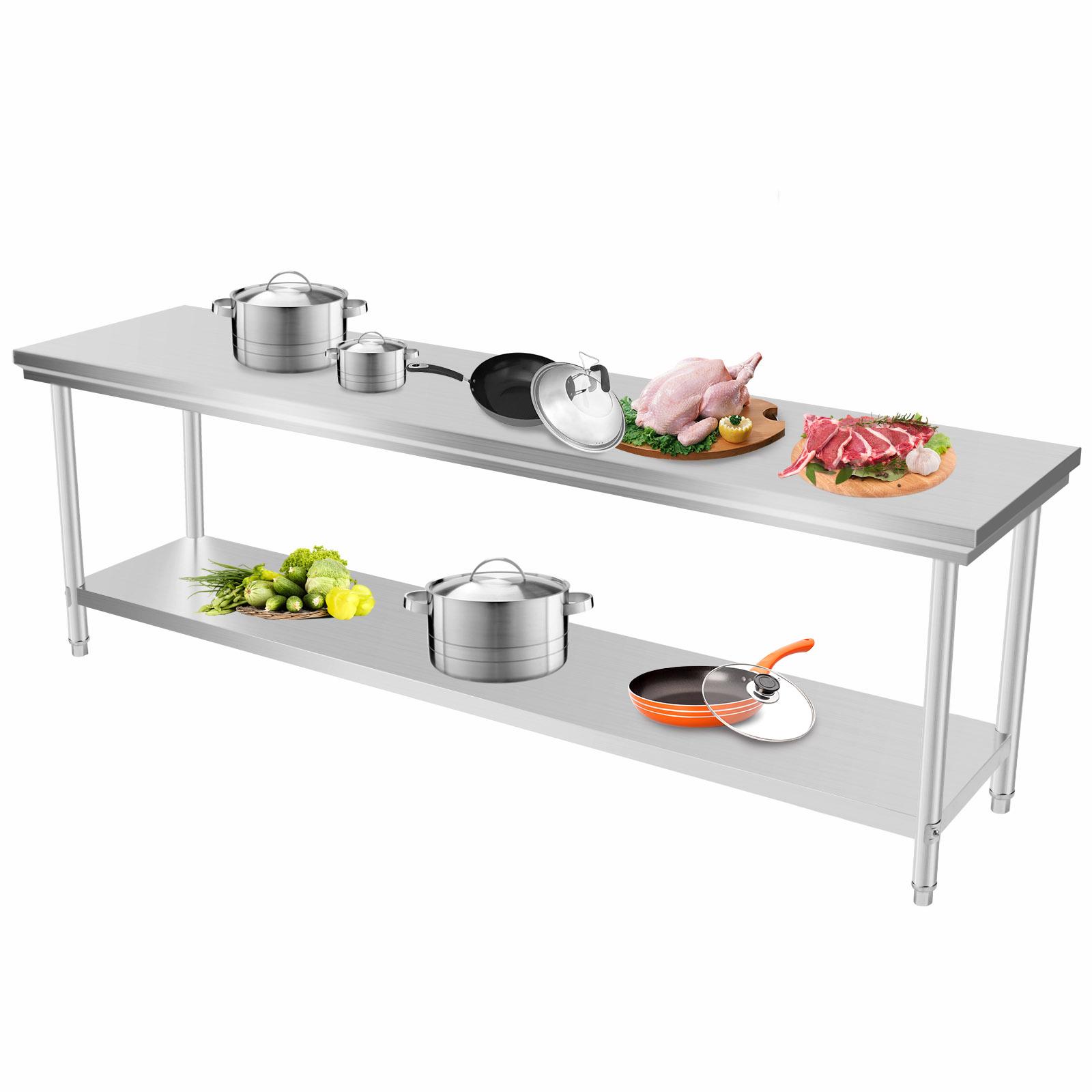 Vevor 201 commercial stainless steel kitchen work bench for Kitchen work