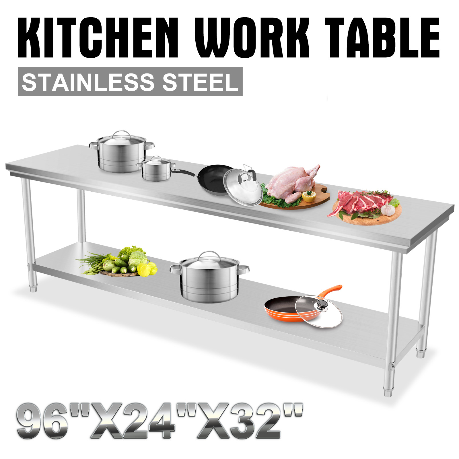 All Sizes Commercial Kitchen Stainless Steel Food Work Prep Table Kitchen New Ebay