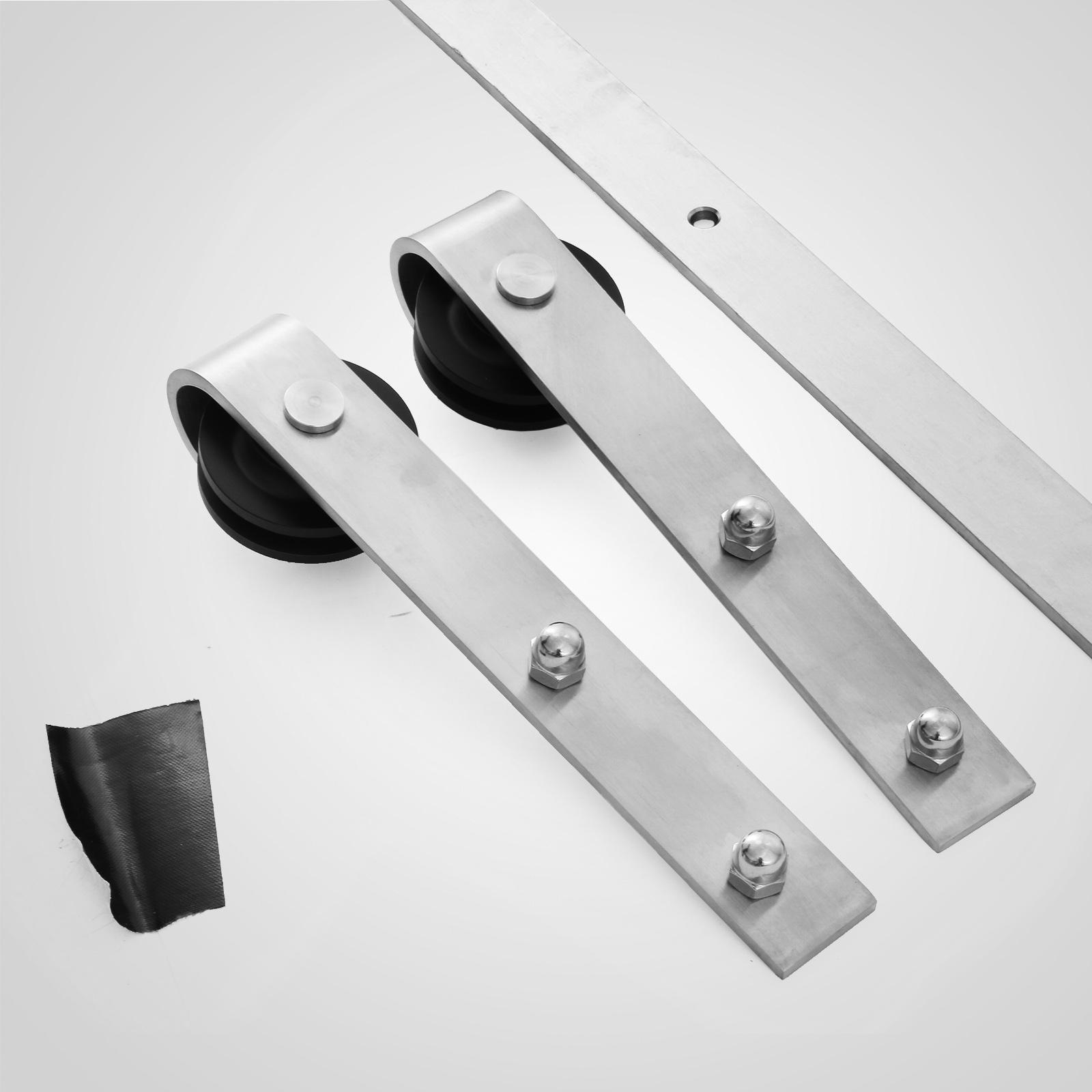 6ft sliding barn door track hardware roller stainless for Sliding door fittings