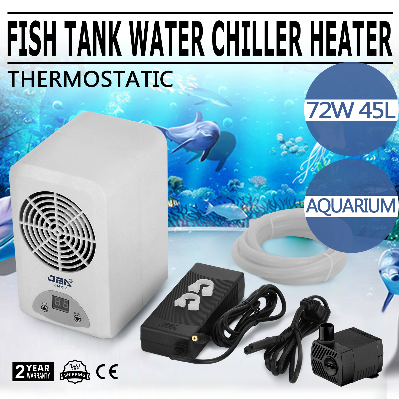 72 108w Fish Tank Water Heater Chiller Thermostatic Aquarium Energy