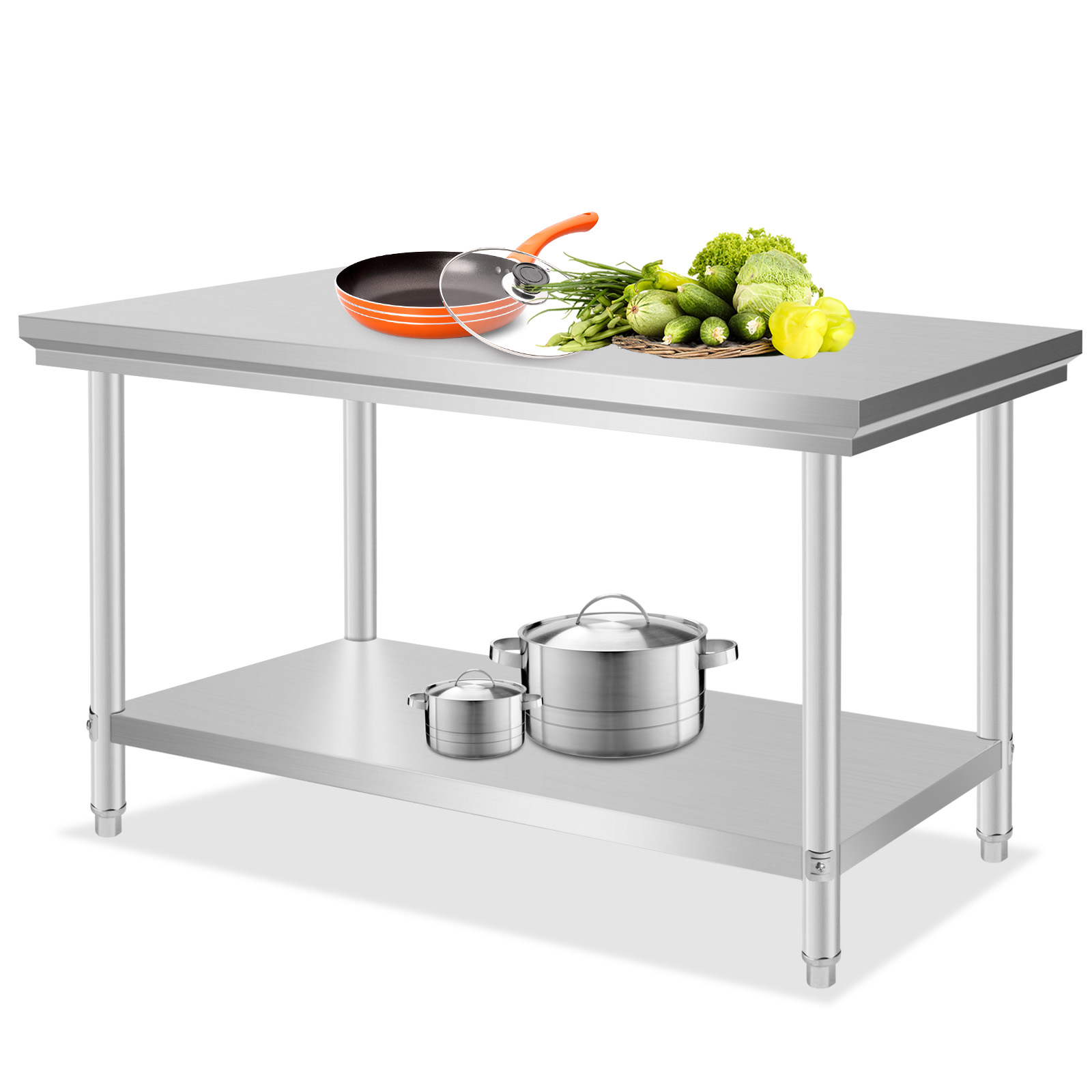 Stainless steel commercial kitchen work prep table 30 x 48 heavy duty nsf new ebay - Steel kitchen tables ...