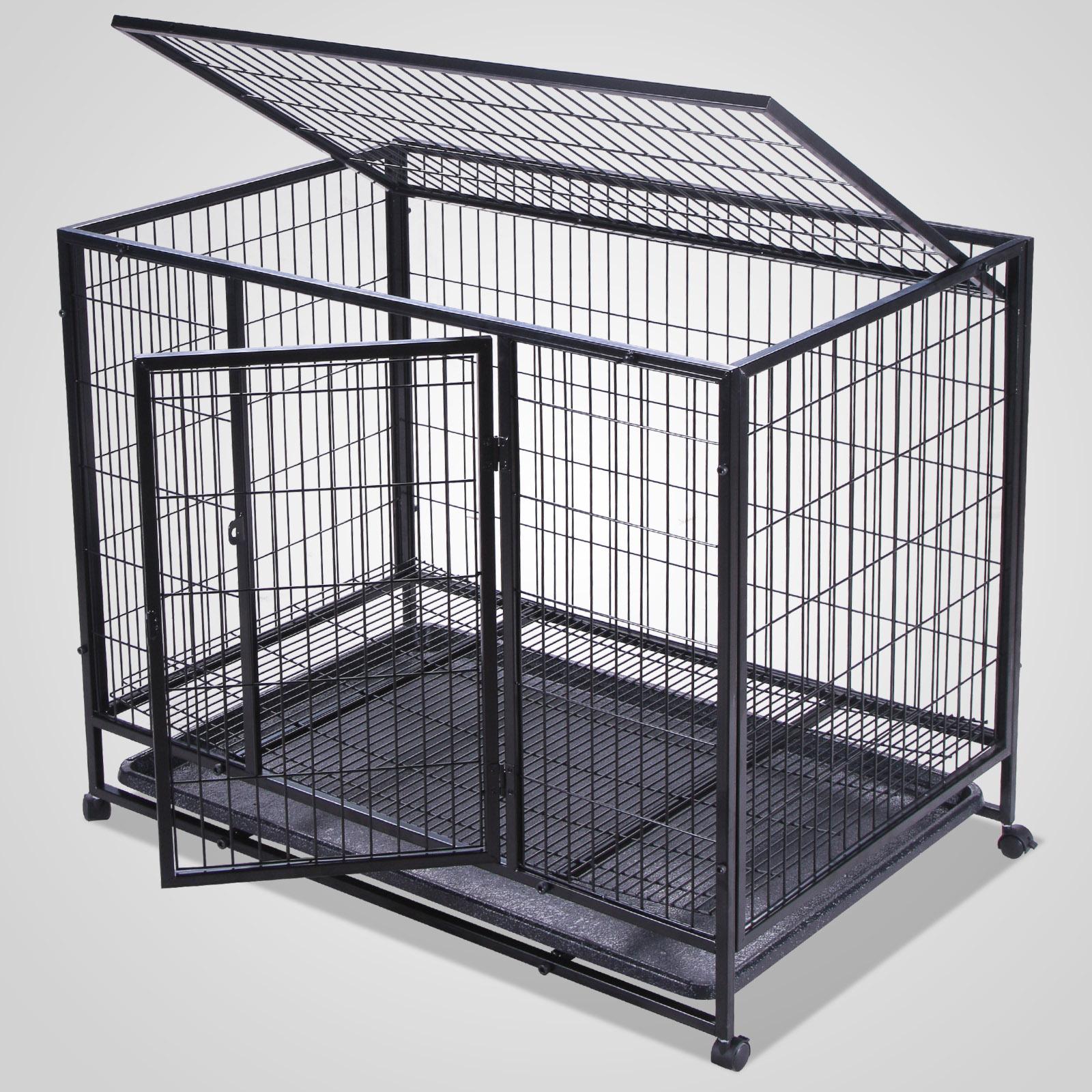 Dog Kennel Enclosures : Inch heavy duty metal dog cage double door crates