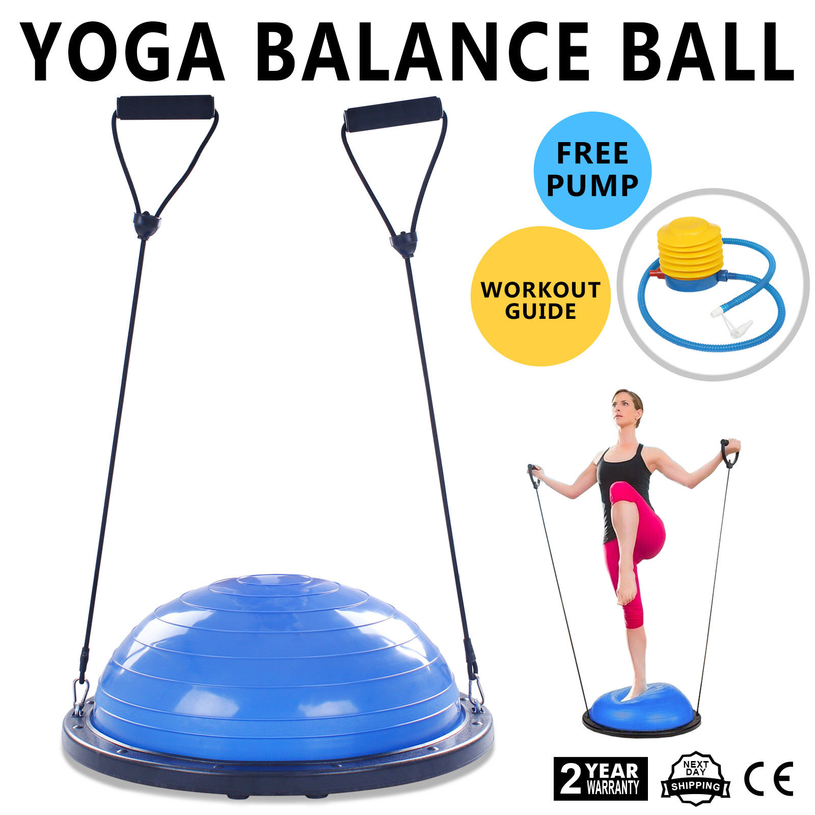"Bosu: 23"" Bosu Balance Yoga Trainer Ball Kit W/ Pump Blue"