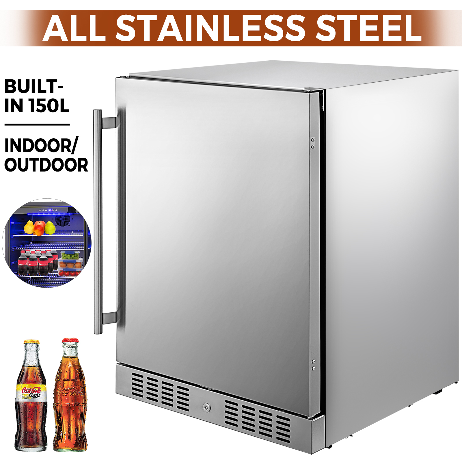 Built-in Beverage Cooler 304 Stainless Steel 5.3 cu. ft. Chrome Plated Shelf