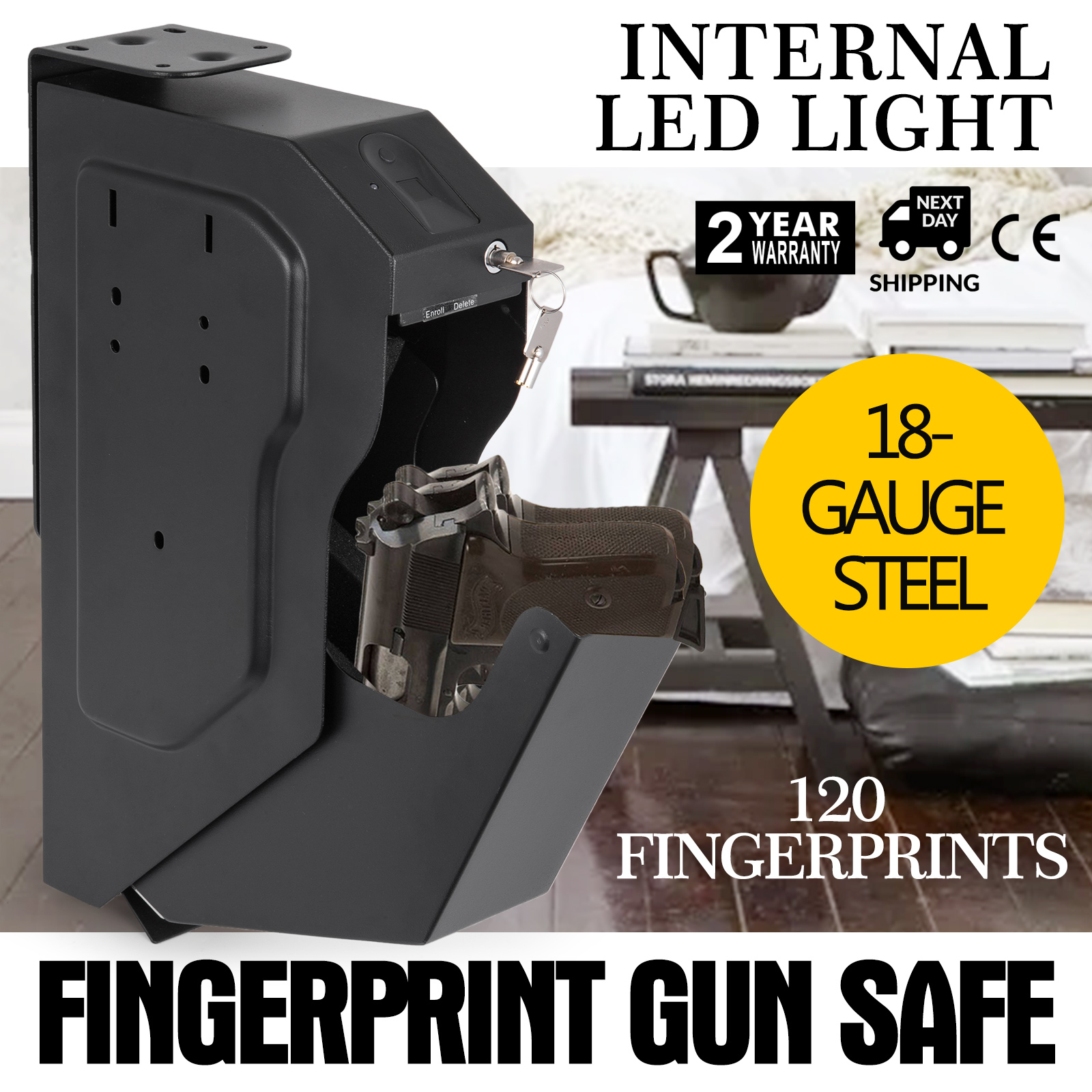 Pistol-Safe-Hand-Gun-Safe-Box-Biometric-Fingerprint-Storage-Home-Office-Security