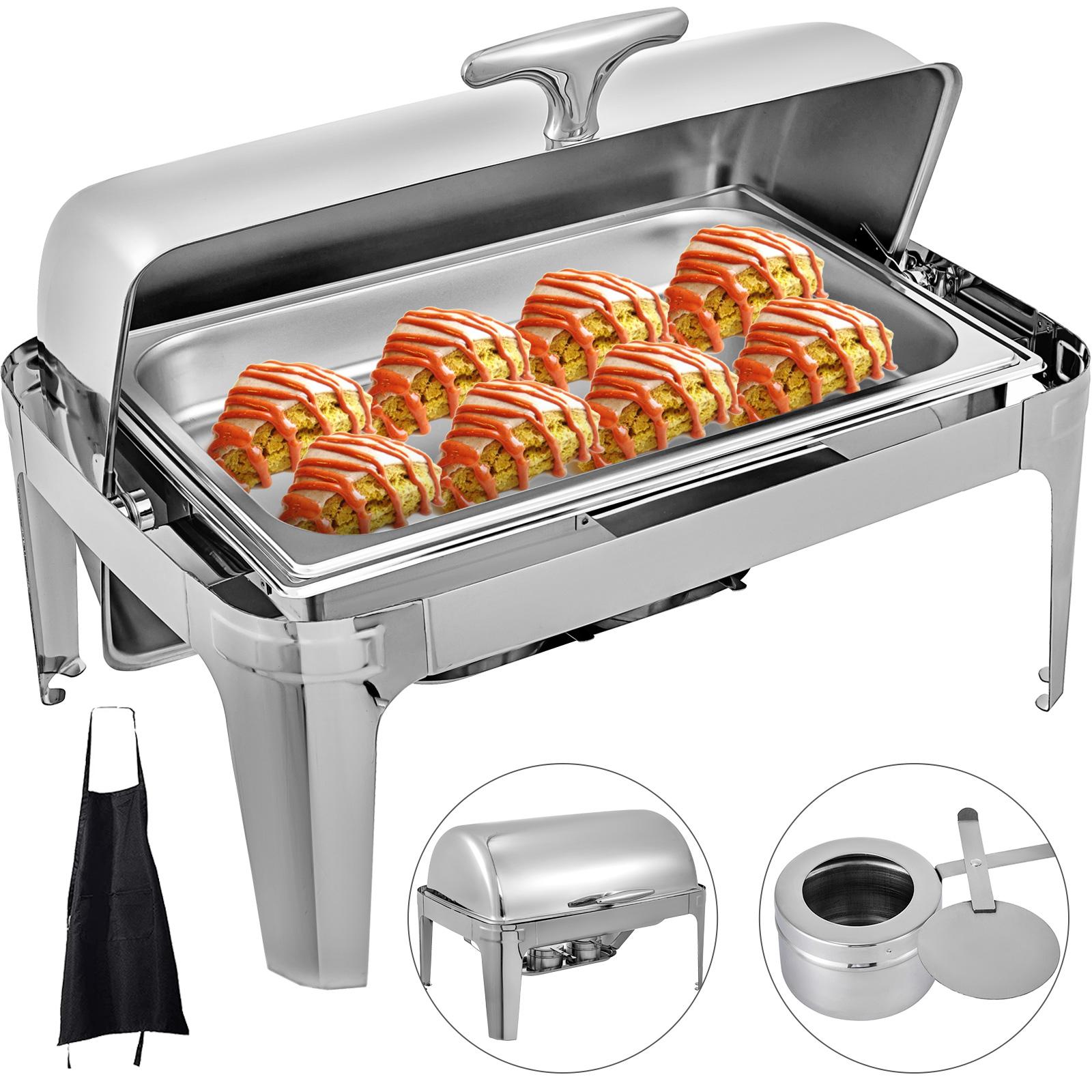 1XChafing Dish Roll Top 9L Base Plegable Calentador de 8 Cuartos Calienta Platos