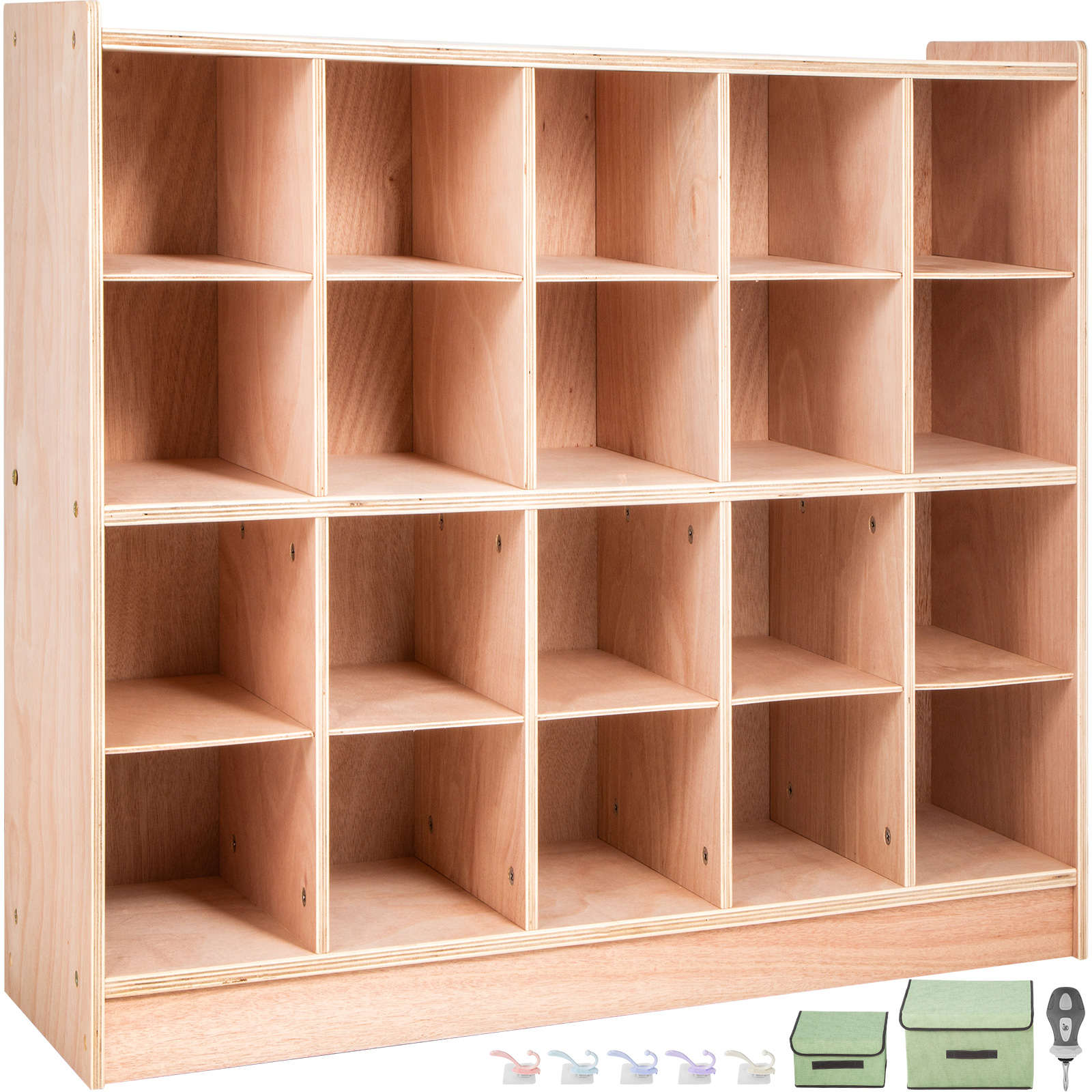 Classroom-Storage-Cabinet-Wooden-Cubby-20-Grids-Organizer-W-Casters-Non-toxic