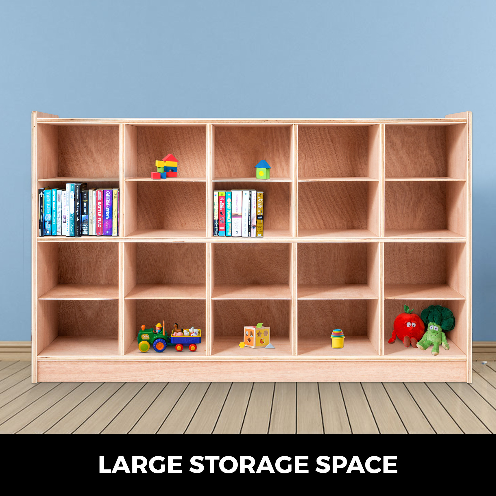 Classroom-Storage-Cabinet-Wooden-Cubby-20-Grids-Organizer-W-Casters-Non-toxic thumbnail 3