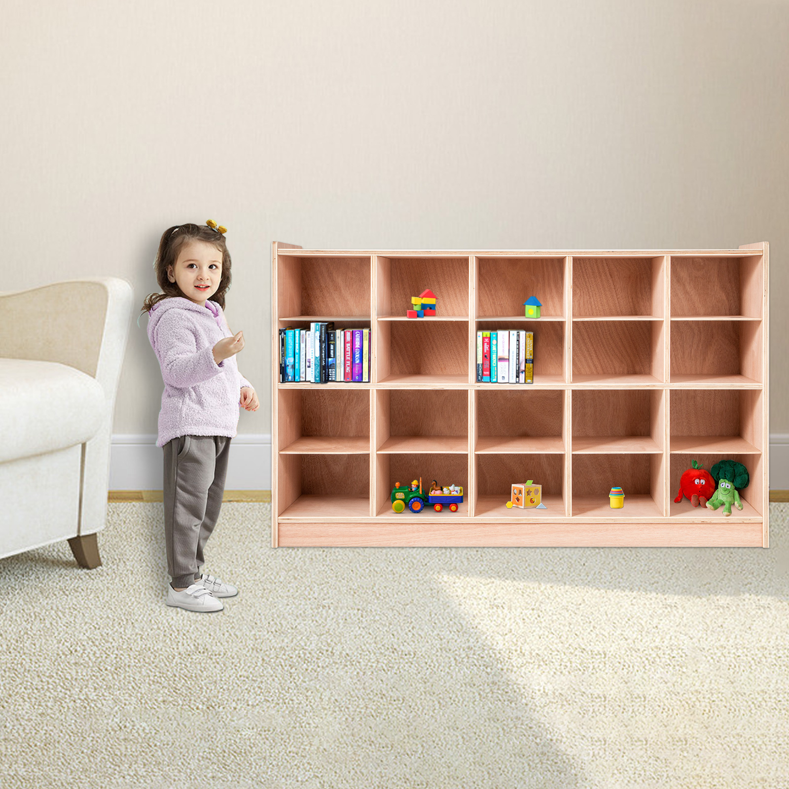 Classroom-Storage-Cabinet-Wooden-Cubby-20-Grids-Organizer-W-Casters-Non-toxic thumbnail 9