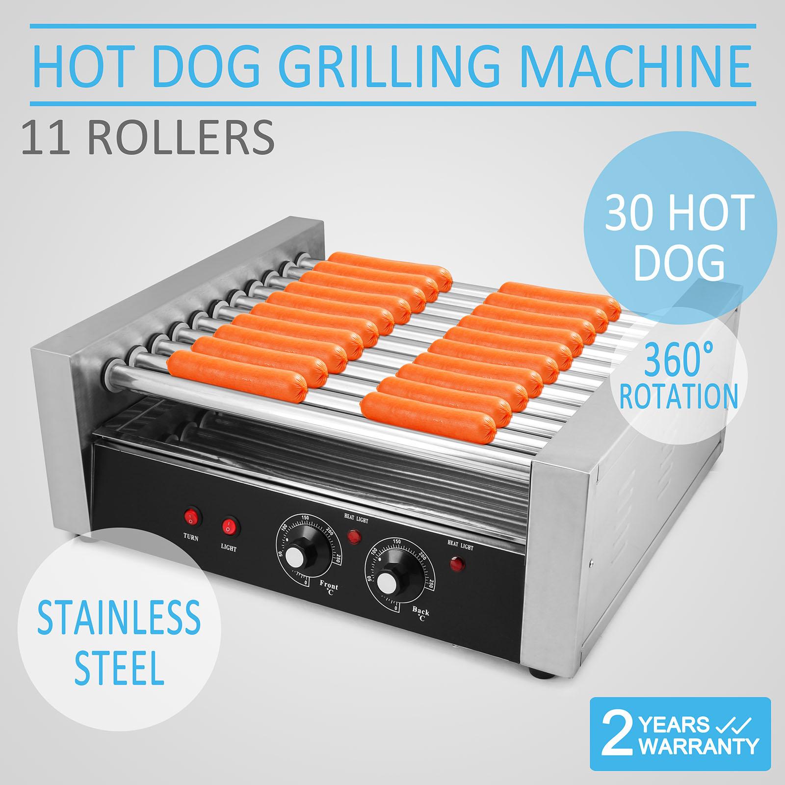 11 roller 30 hot dog grilling machine griller 11 rows. Black Bedroom Furniture Sets. Home Design Ideas