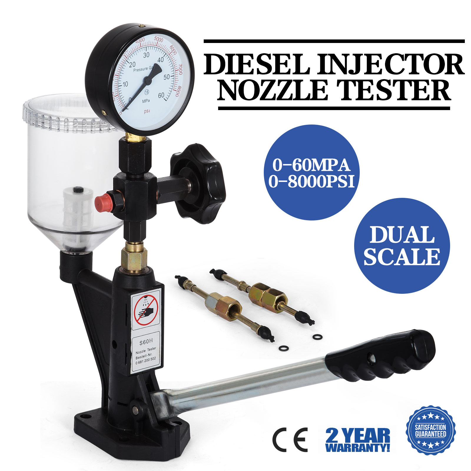 diesel injector nozzles tester device w shockproof pressure gauge 6190 6200 6170 ebay. Black Bedroom Furniture Sets. Home Design Ideas