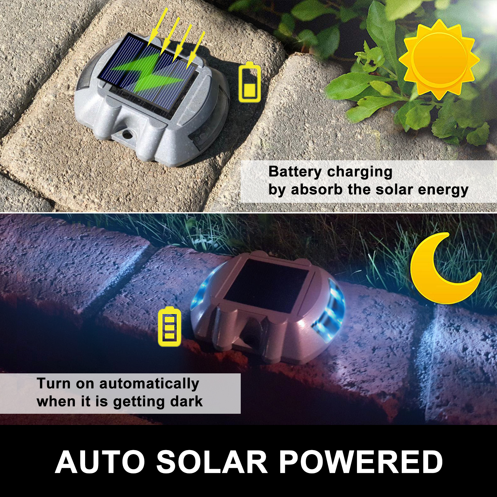 Solar LED for Pathway Driveway Lights Dock Path Step Road Safety 6 LEDS