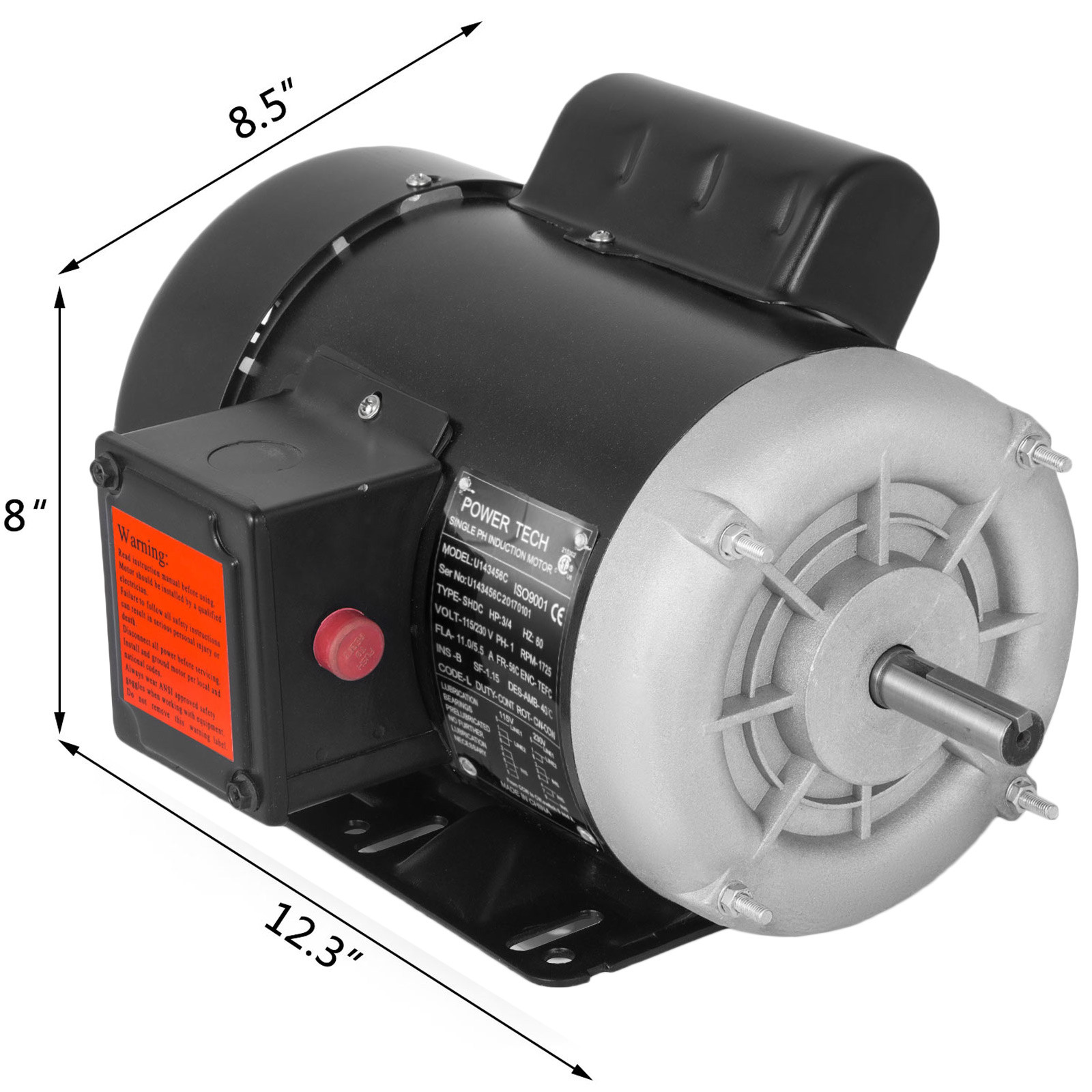 "1~20 HP Compressor Duty Electric Motor 1//3 Phase 3450 RPM 56 Frame 7//8/"" 230V"