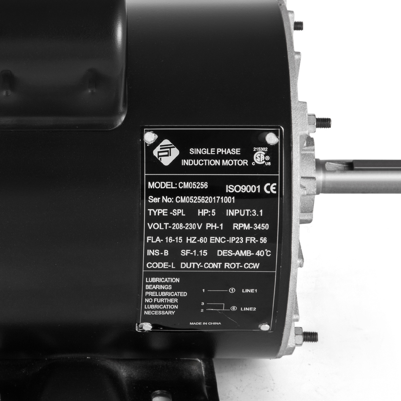 """1~20 HP 1Phase 3450RPM Electric Air Compressor Duty Motor 56 Frame 5//8/"""" Shaft"""