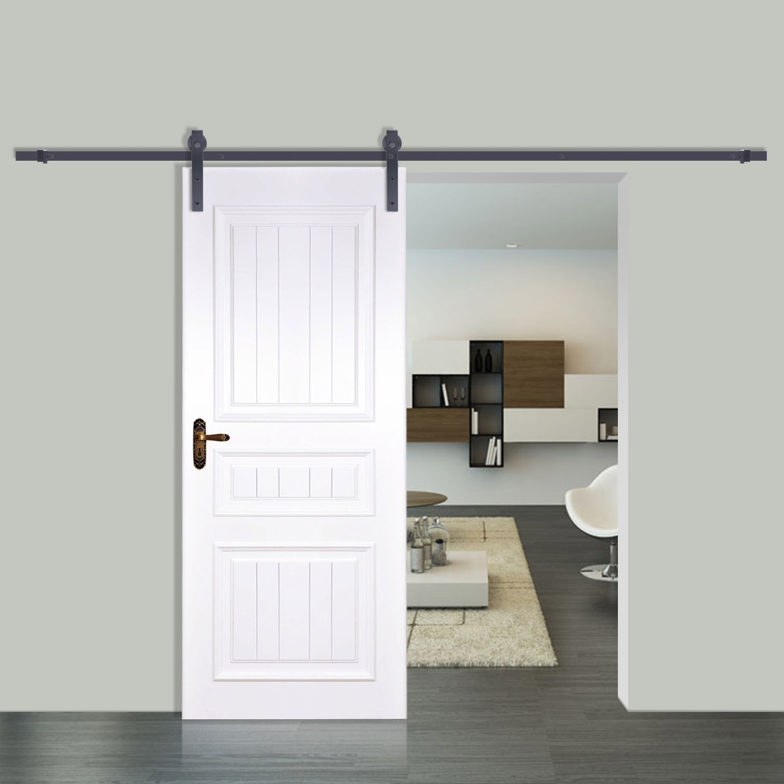Wall mount sliding door hardware set - Black Carbon Steel Sliding Barn Door Hardware Track Rail Kit Wall Mount 4 Sizes Ebay