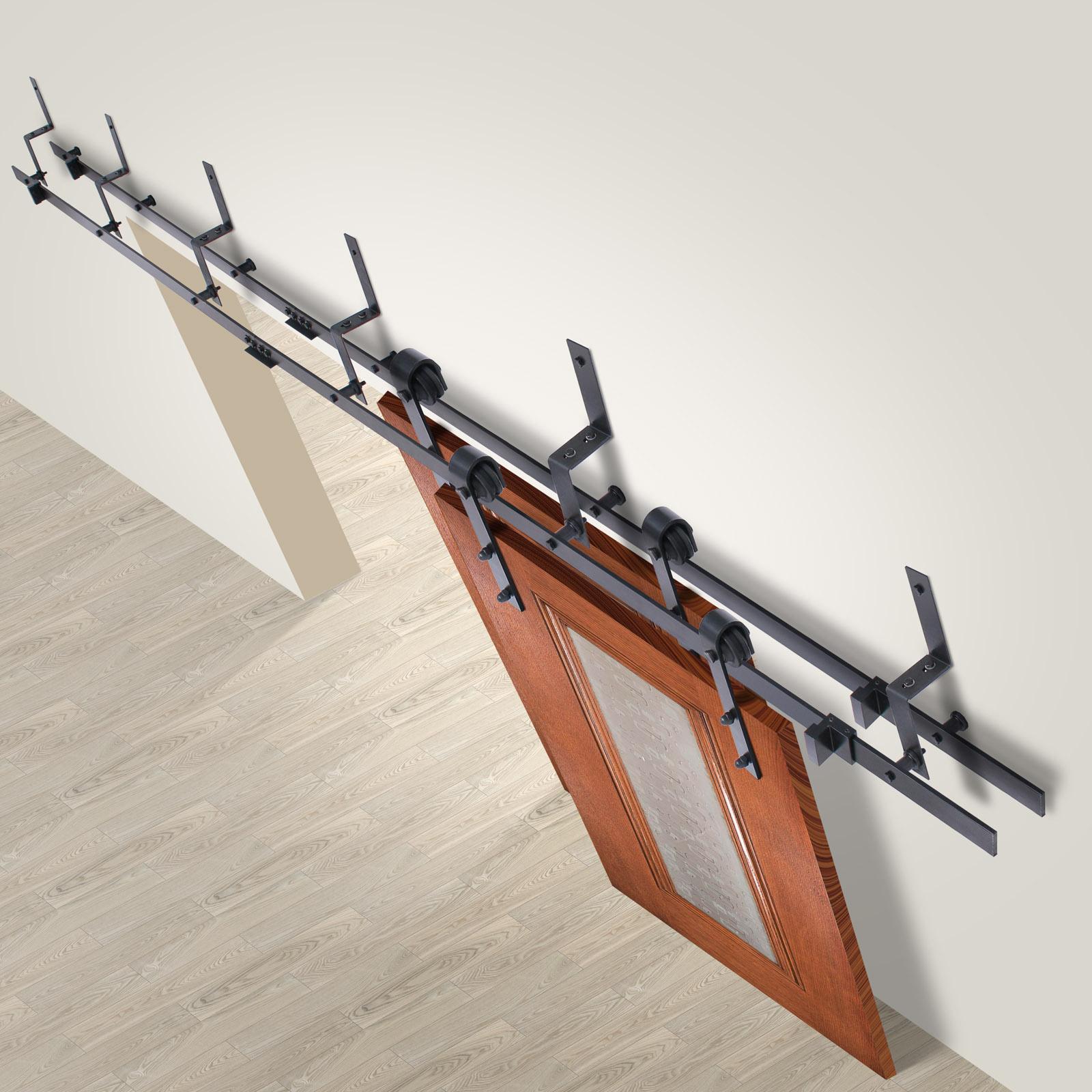 Vevor sliding barn wood door closet hanger gear kit track for Track hanger