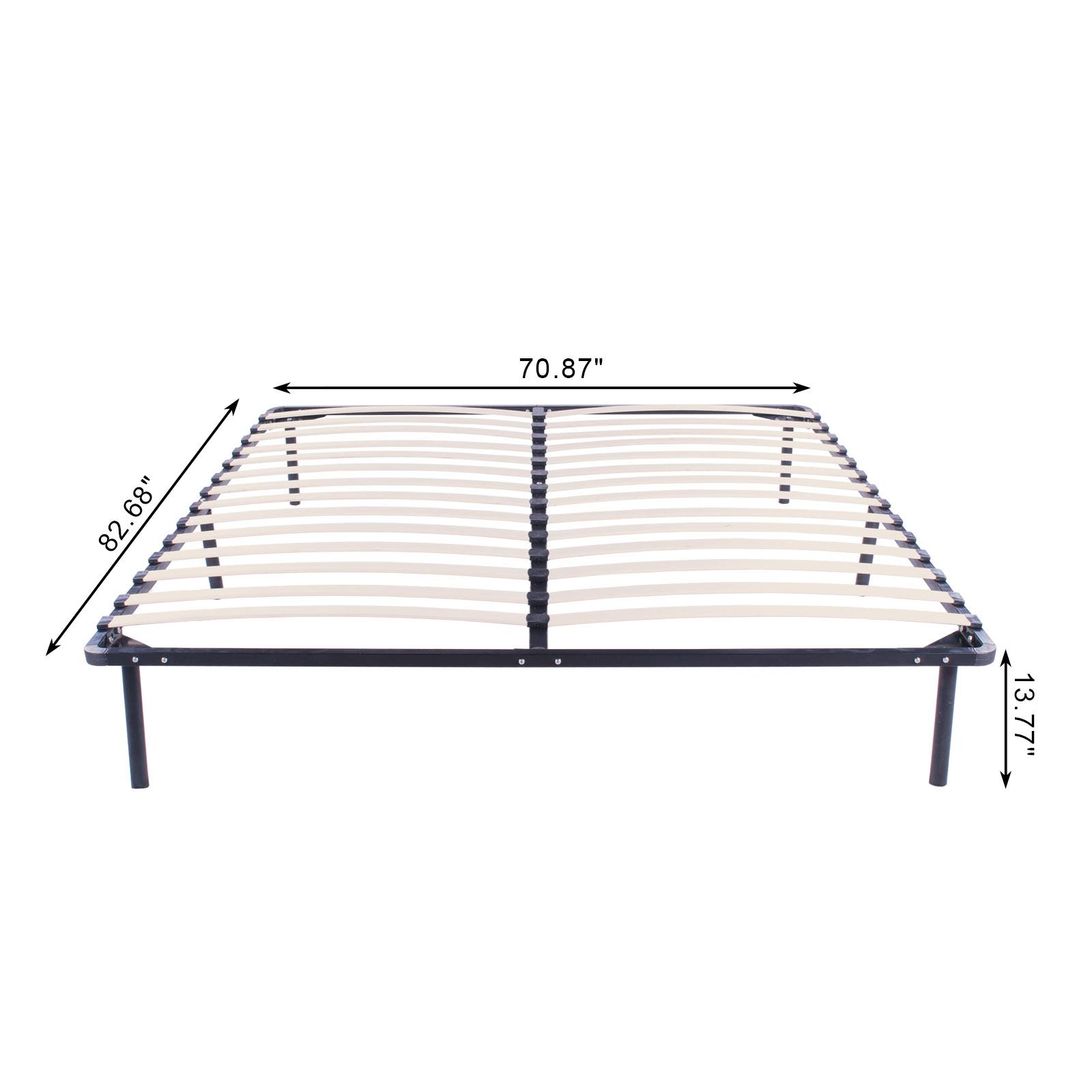 full king queen size wood slats metal platform bed frame mattress foundation. Black Bedroom Furniture Sets. Home Design Ideas