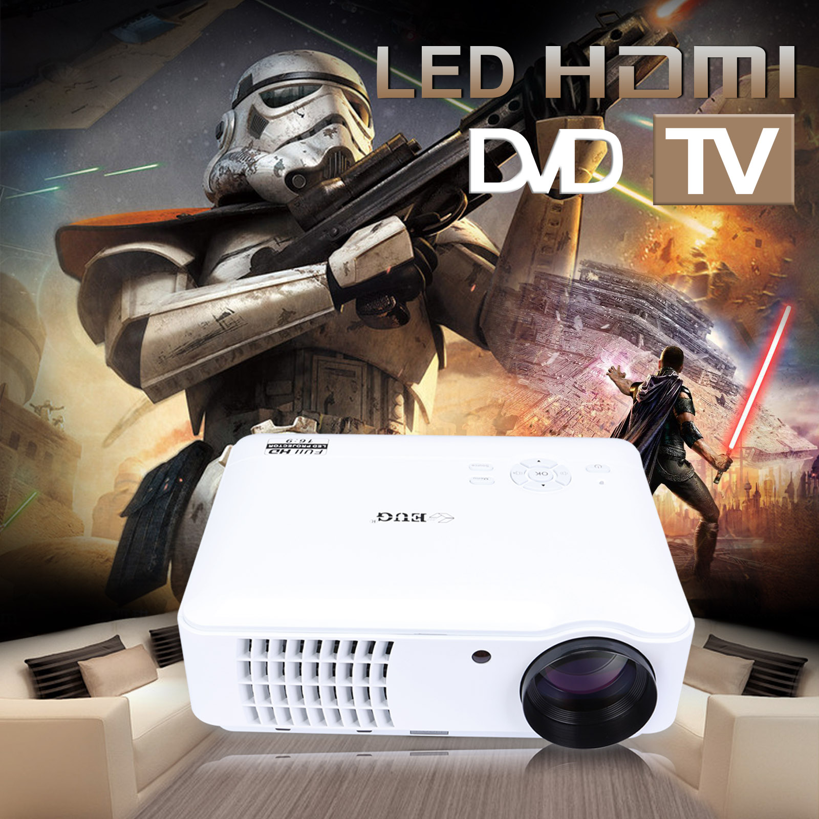 Hiperdeal Home Cinema Theater Multimedia Led Lcd Projector: 4500 LUMENS HD 1080P HOME CINEMA THEATER MULTIMEDIA LED
