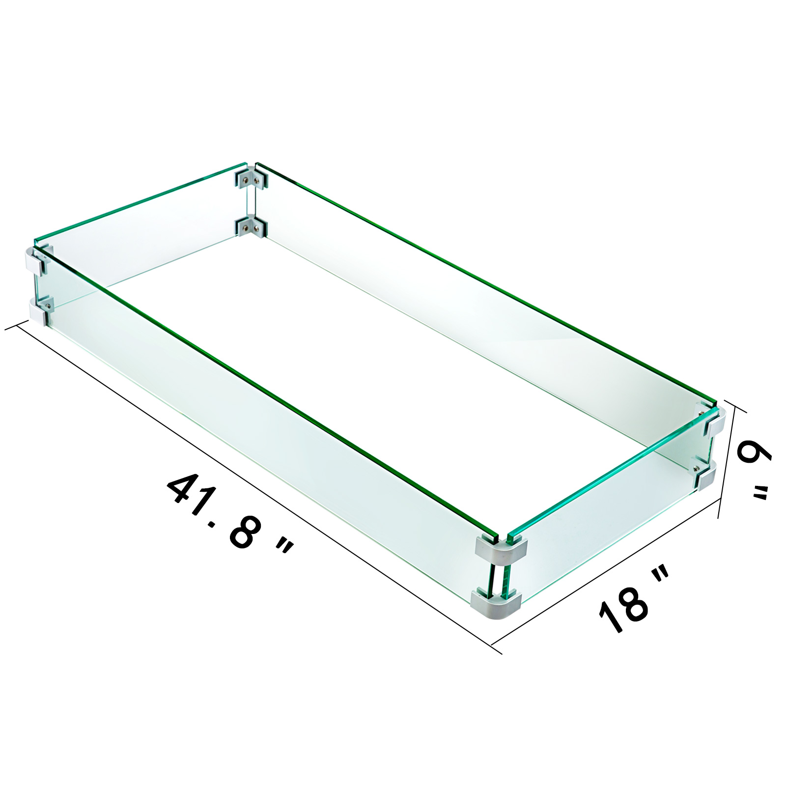 Glass Flame Guard For Drop-In Fire Pit Pan for Gusty Rectangular Tempered Glass
