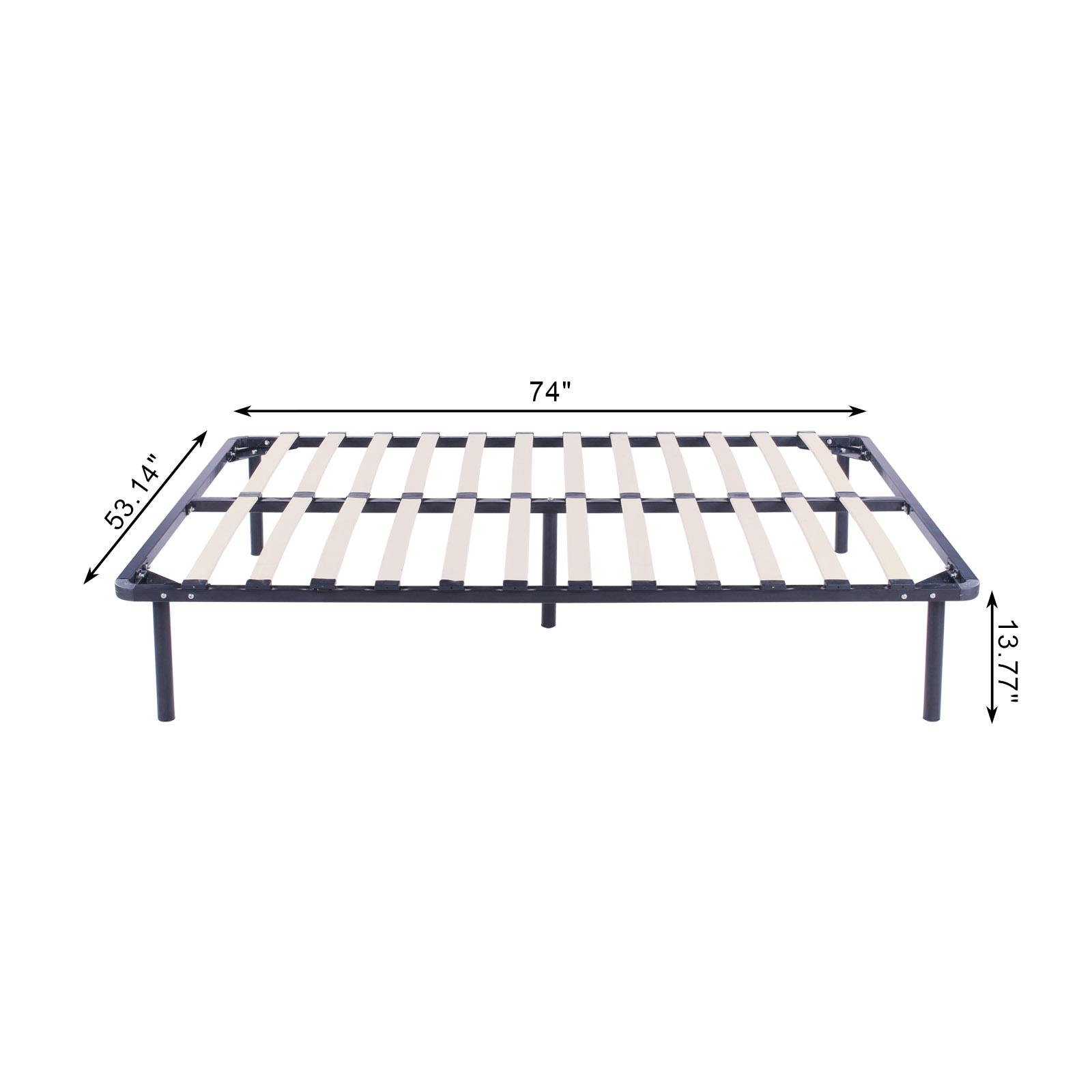 full size wood slats metal platform bed frame mattress foundation bedroom ebay. Black Bedroom Furniture Sets. Home Design Ideas