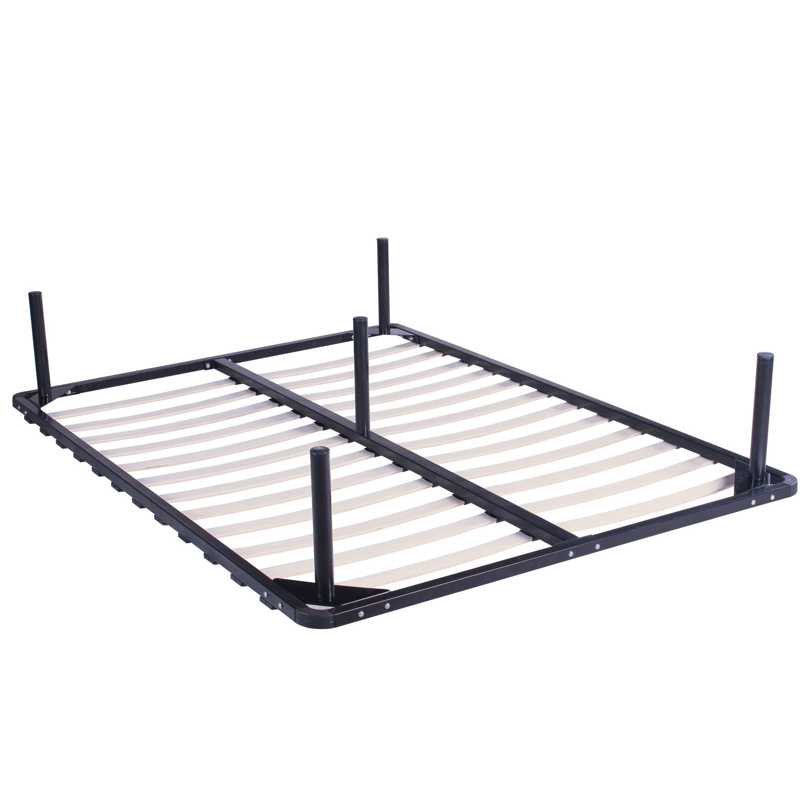 Full size wood slats metal bed frame platform bedroom for Full size bed frame