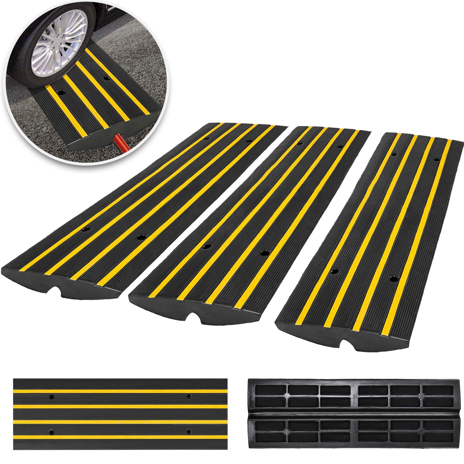 3pcs Curb Ramp Rubber Car Driveway Threshold Ramp Parking Lo