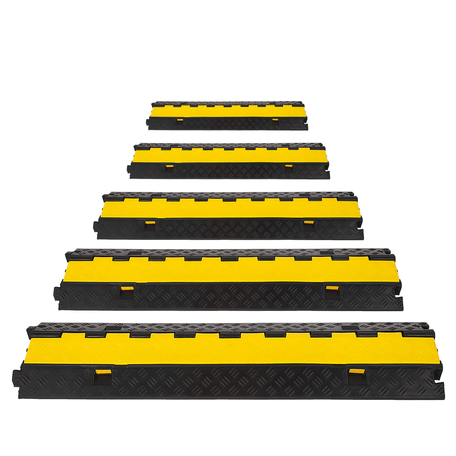 Rubber Cable Protector Ramp 2//3 Channel 45° Right//Left Turn Vehicle Yellow Lid