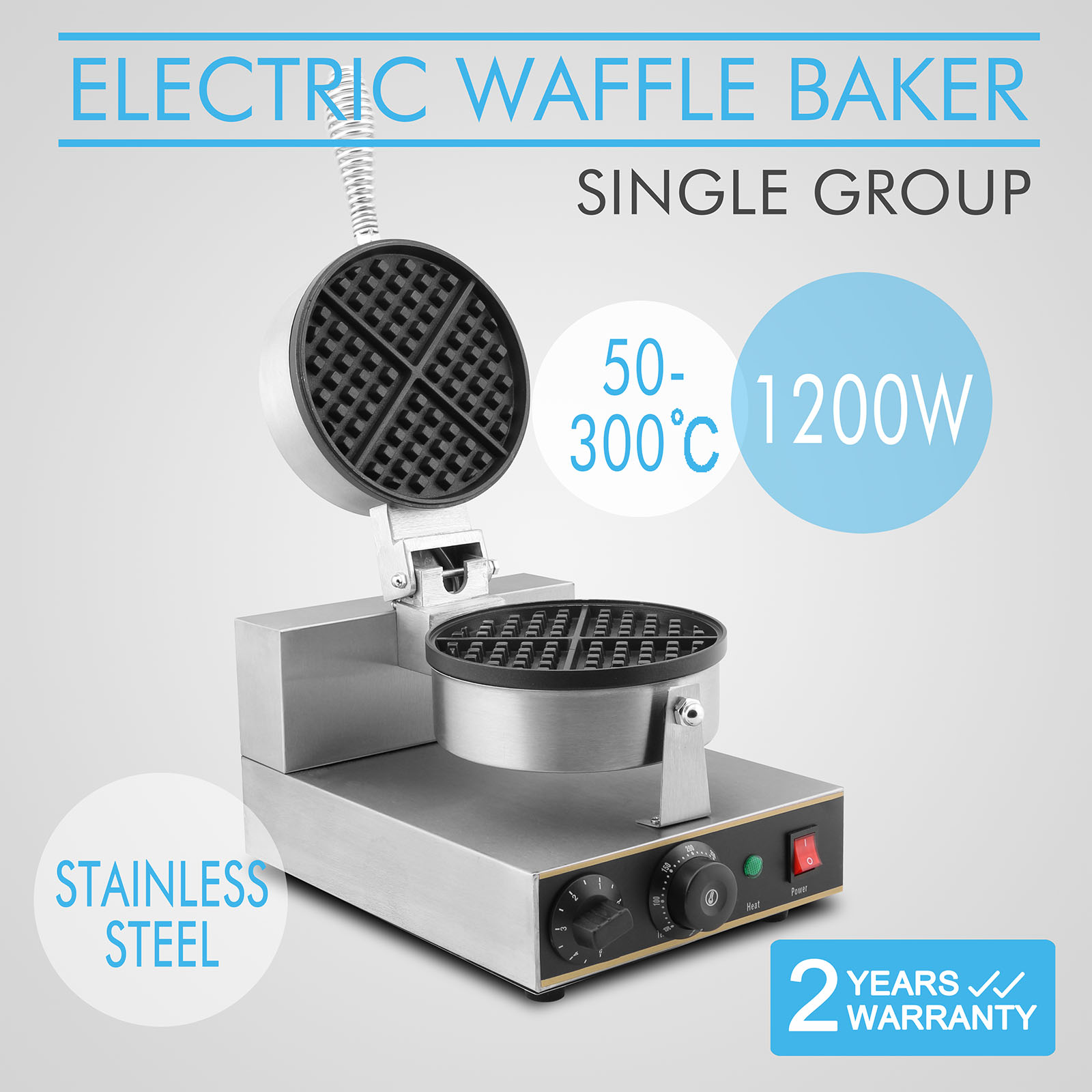 Commercial electric waffle maker baker gourmet w
