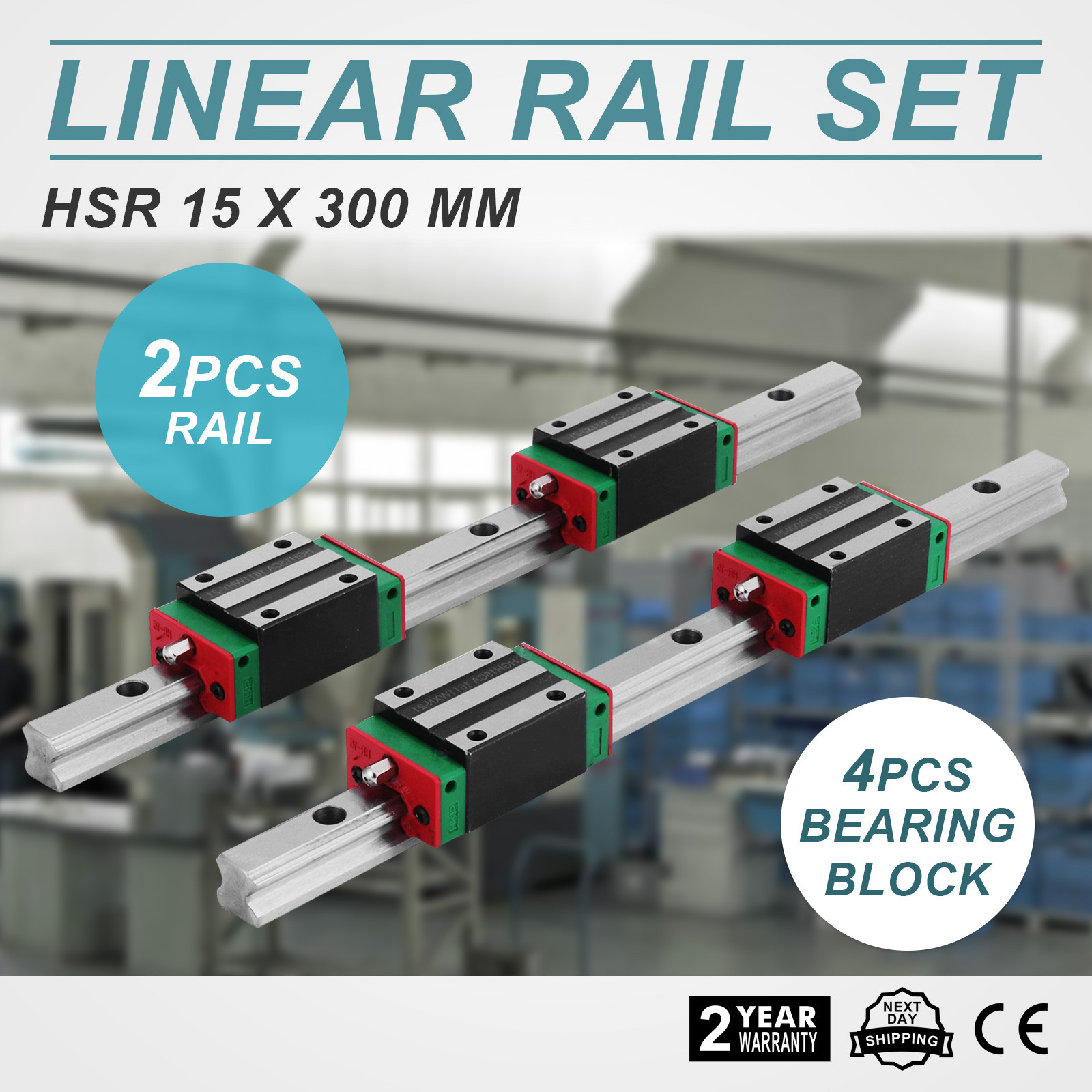 2x-15-300mm-Linear-Guideway-Rail-4x-Square-block-Routers-High-Rigidity-Bearing