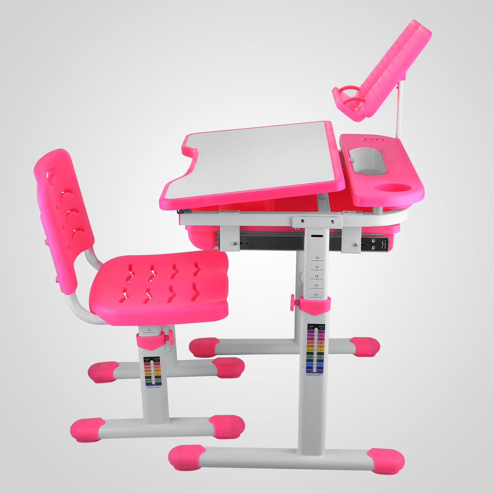 Children Kid Study Desk Amp Chair Adjustable Height Reading